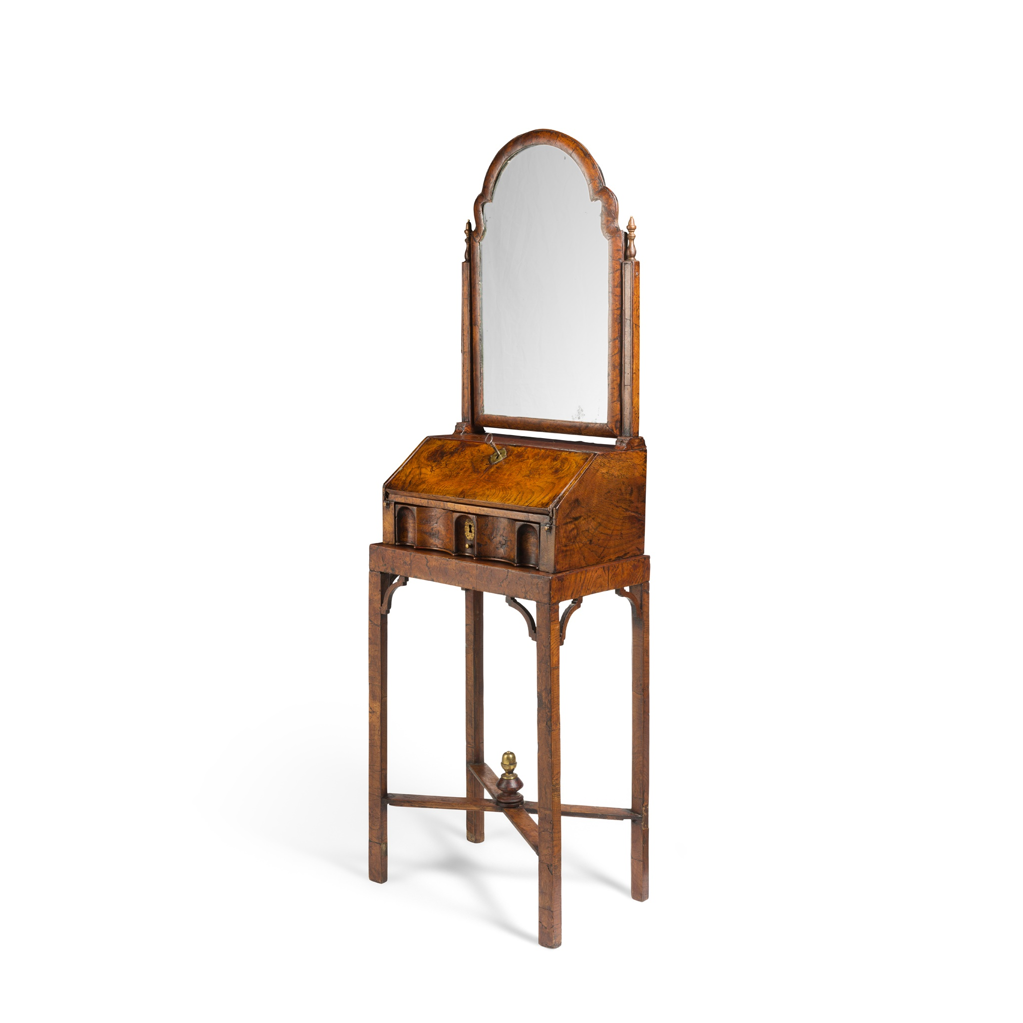 QUEEN ANNE BURR ELM AND RED JAPANNED TOILET MIRROR ON STAND EARLY 17TH CENTURY