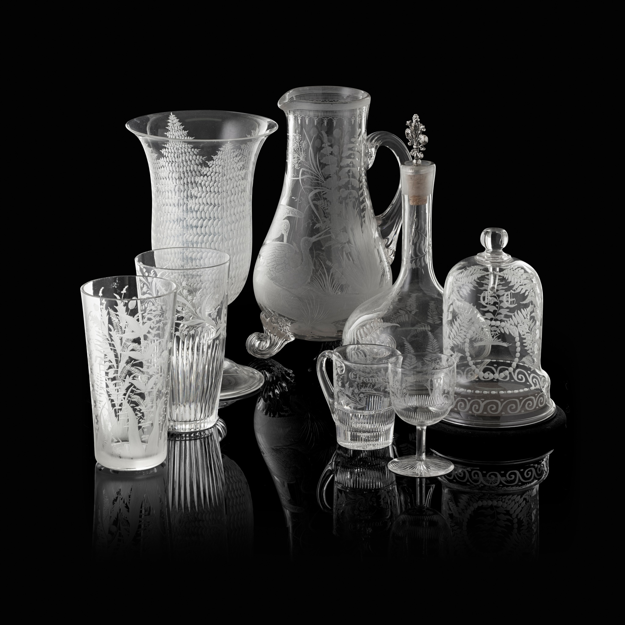 COLLECTION OF VICTORIAN ENGRAVED GLASSWARE 19TH CENTURY