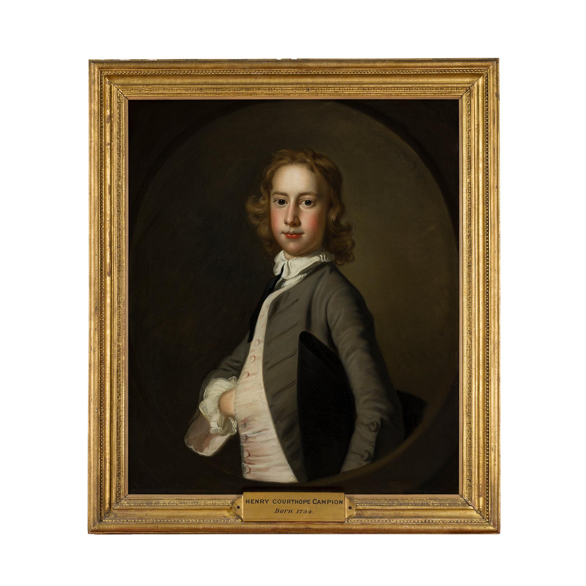 THOMAS HUDSON (BRITISH 1701-1779) HALF LENGTH PORTRAIT OF HENRY COURTHOPE CAMPION OF DANNY B.1734 - Image 2 of 2