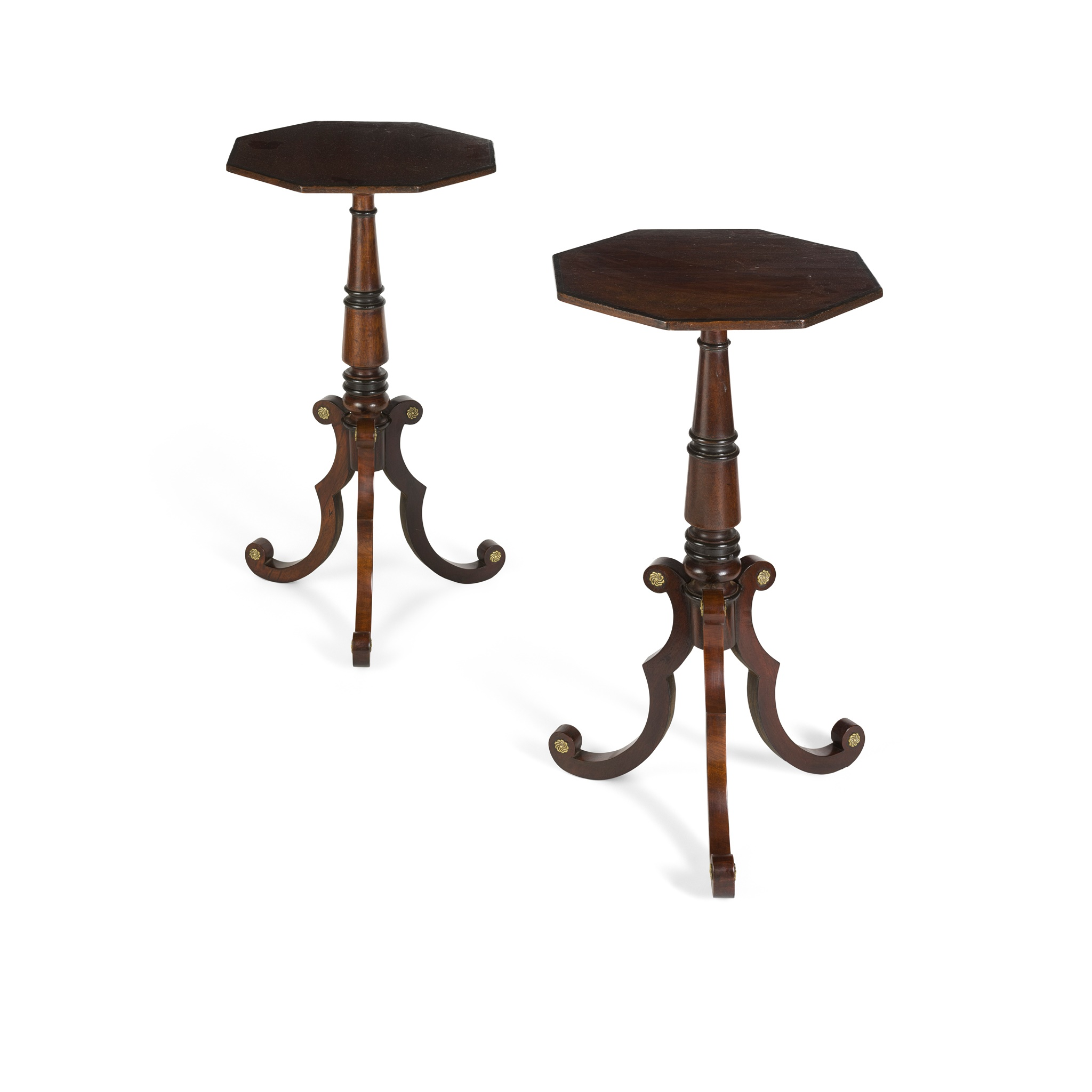 PAIR OF REGENCY MAHOGANY AND EBONISED LAMP TABLES EARLY 19TH CENTURY