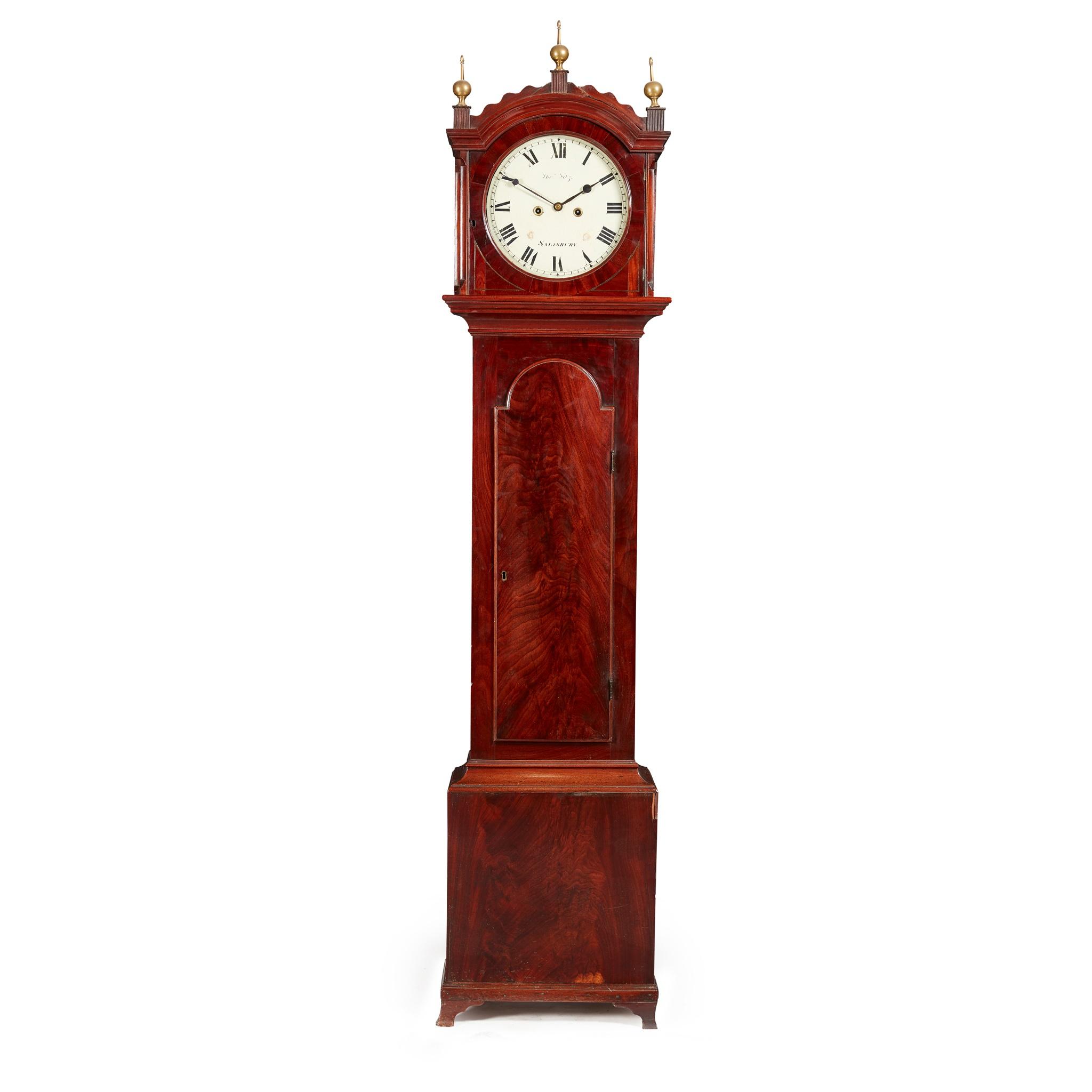 LATE GEORGE III MAHOGANY LONGCASE CLOCK, THOMAS FITZ, SALISBURY EARLY 19TH CENTURY