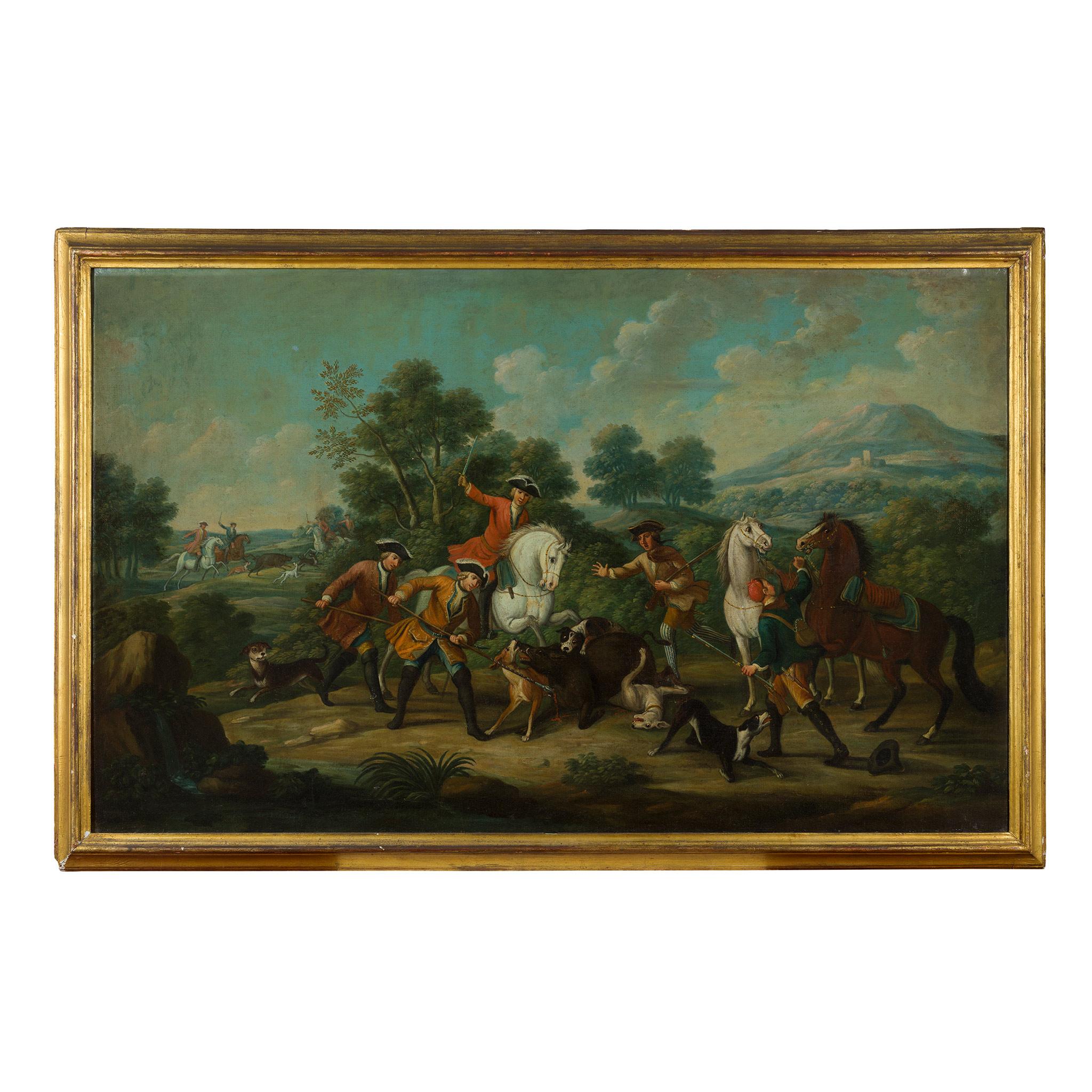 18TH CENTURY FRENCH SCHOOL ELEGANT FIGURES BOAR HUNTING - Image 6 of 8