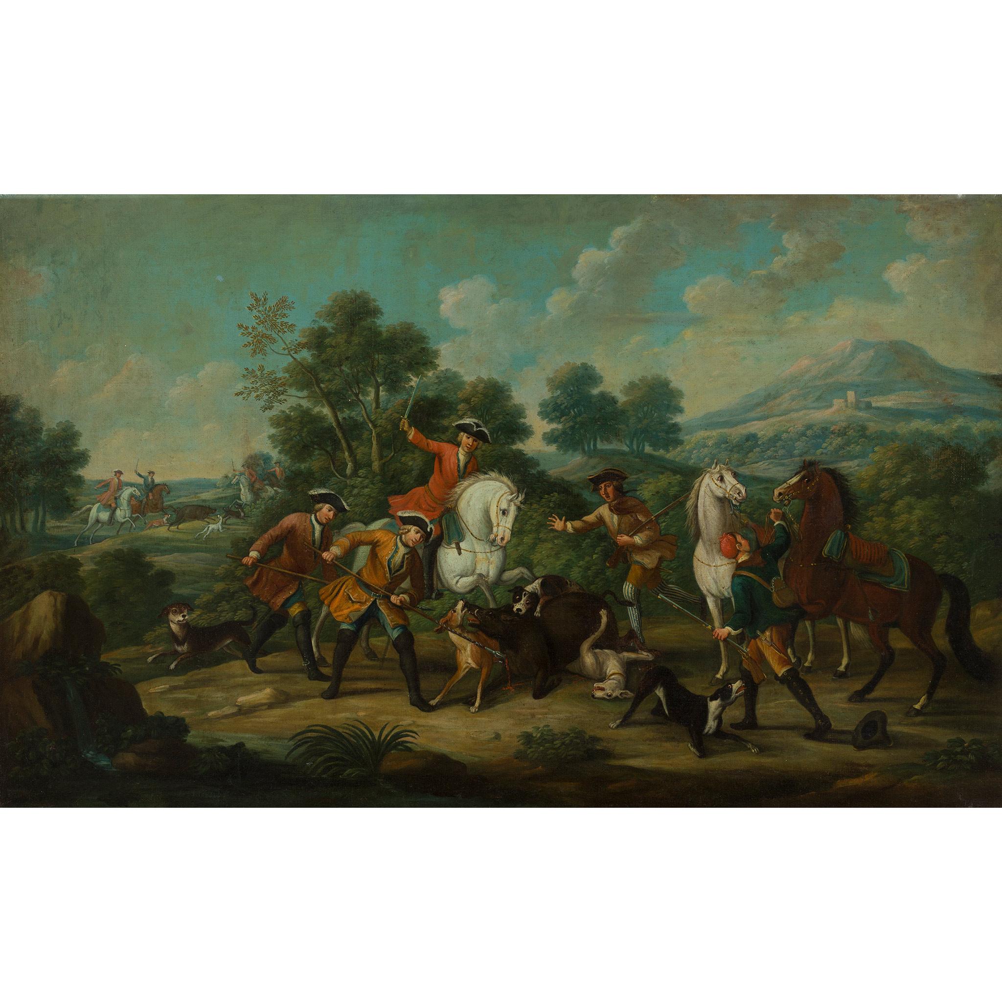 18TH CENTURY FRENCH SCHOOL ELEGANT FIGURES BOAR HUNTING - Image 3 of 8