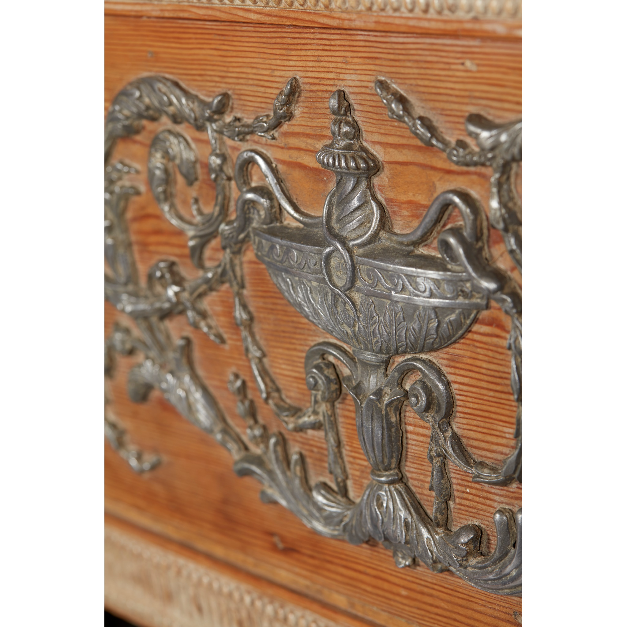 RARE GEORGE III PEWTER AND GESSO MOUNTED FIRE SURROUND 18TH CENTURY - Image 6 of 7