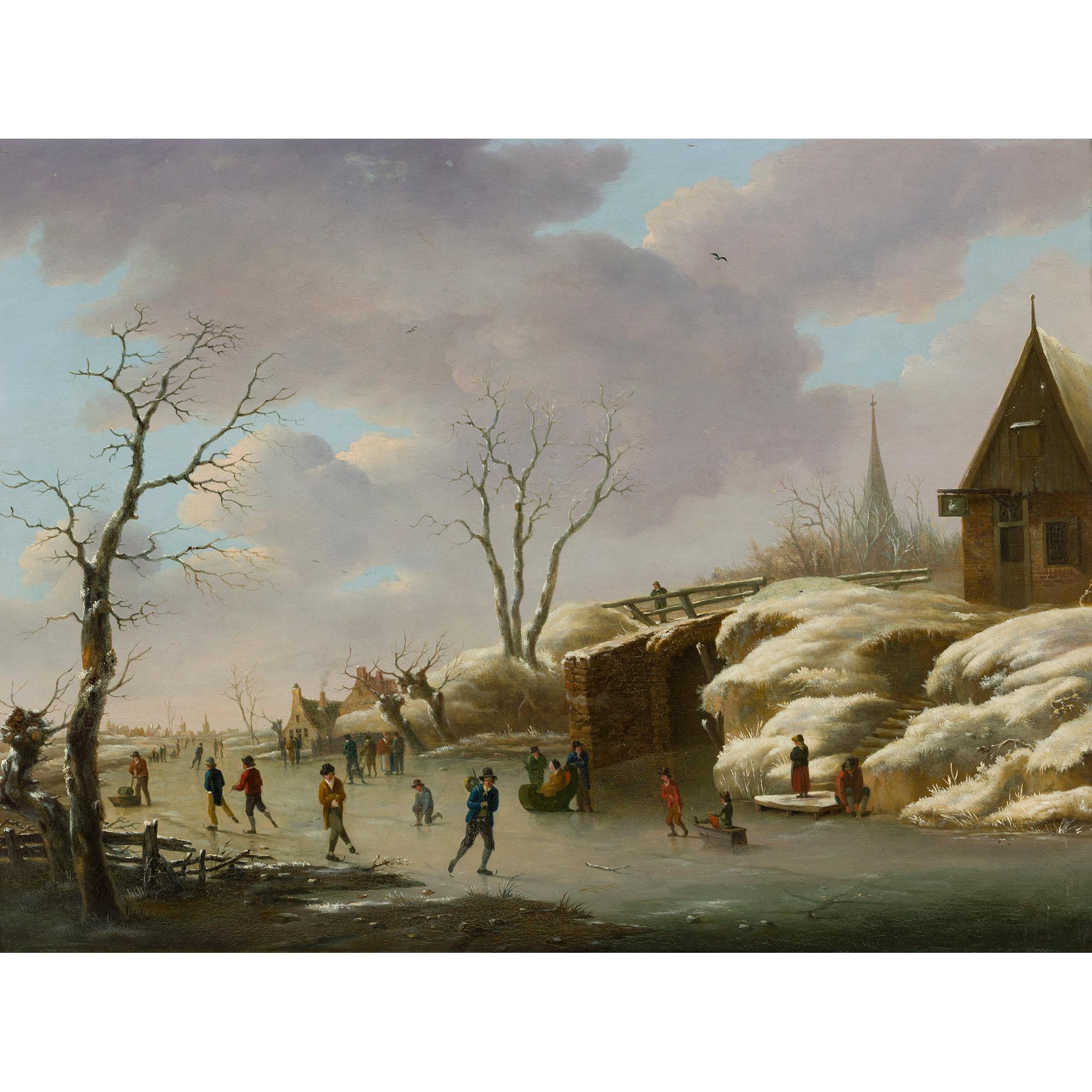 HERMANUS DONSELAER (BELGIAN 1761-1829) A WINTER LANDSCAPE WITH FIGURES SKATING