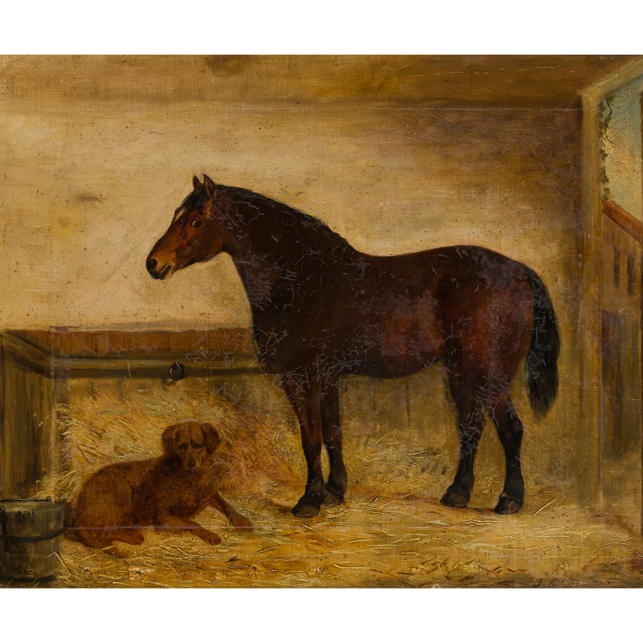 19TH CENTURY ENGLISH SCHOOL DARK BAY COB WITH A RETREIVER IN A STABLE