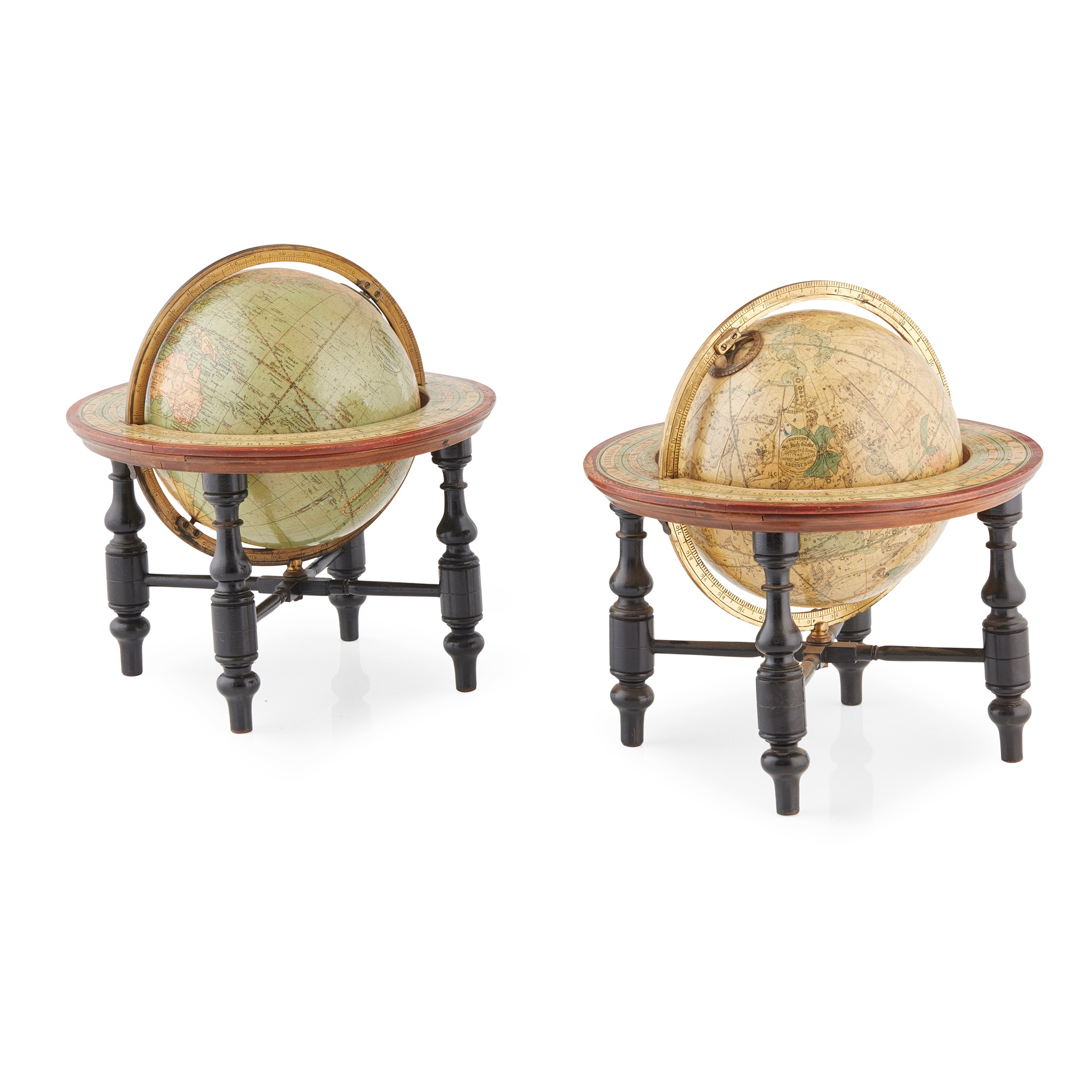 PAIR OF SIX-INCH TERRESTIAL AND CELESTIAL JOHNSTON'S TABLE GLOBES LATE 19TH CENTURY