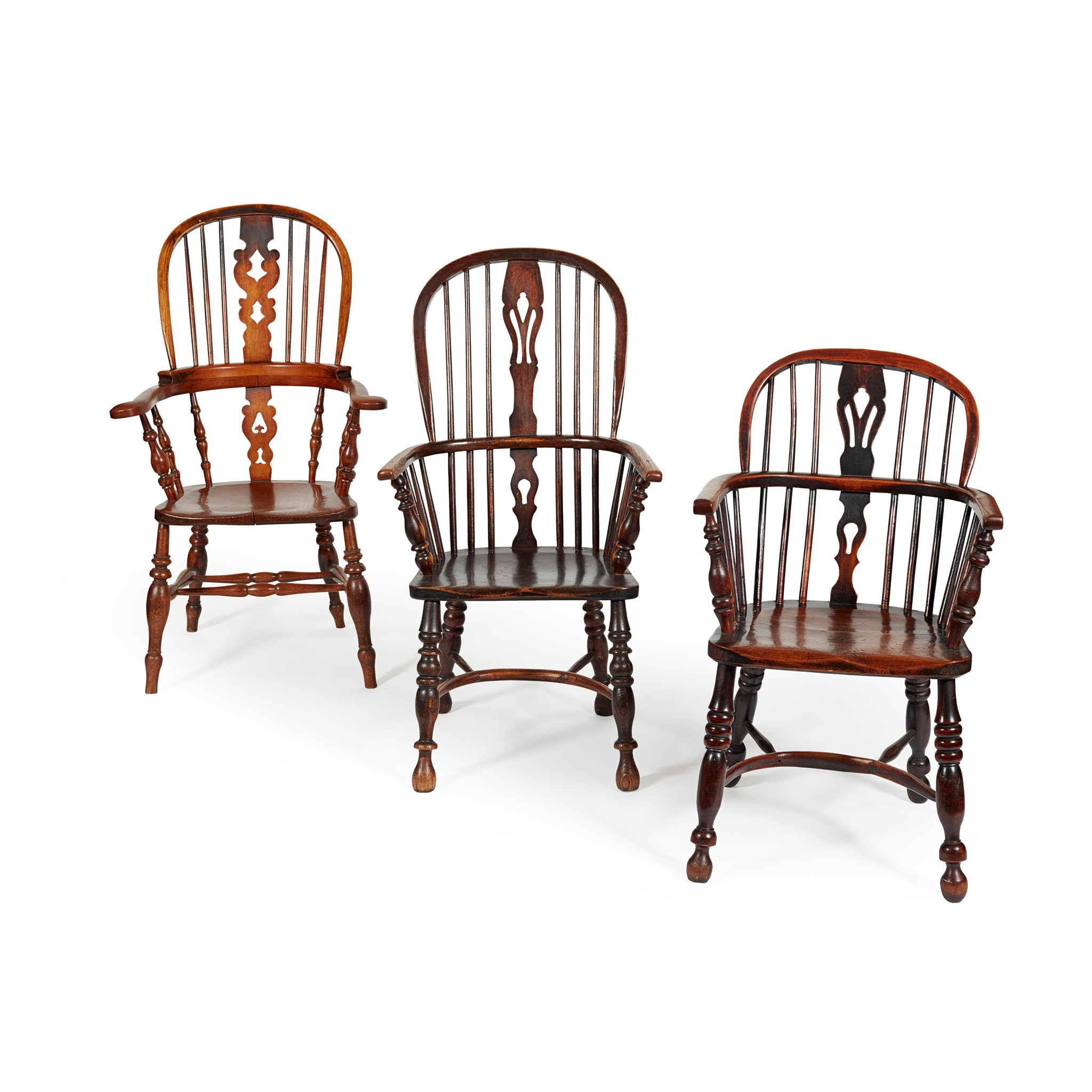 THREE ASH AND ELM WINDSOR CHAIRS 19TH CENTURY