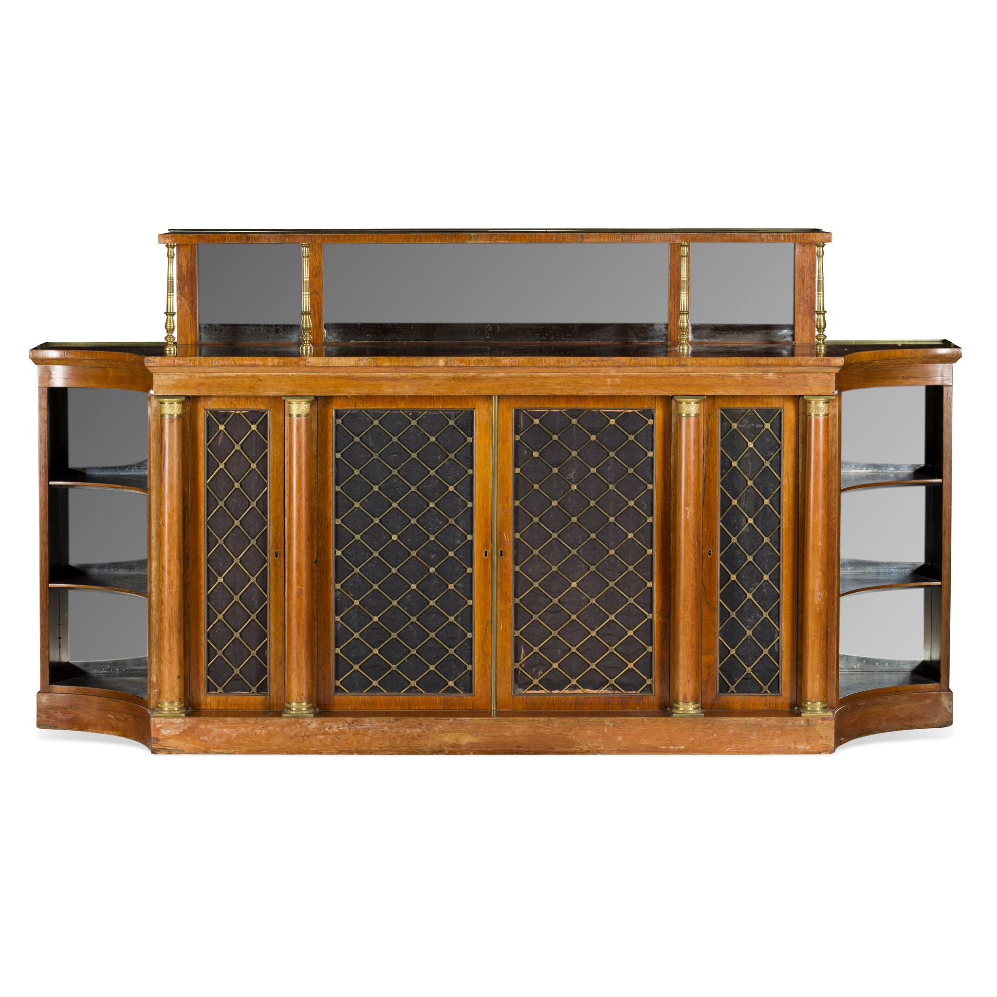 Y REGENCY ROSEWOOD BRASS AND MIRROR MOUNTED CREDENZA EARLY 19TH CENTURY