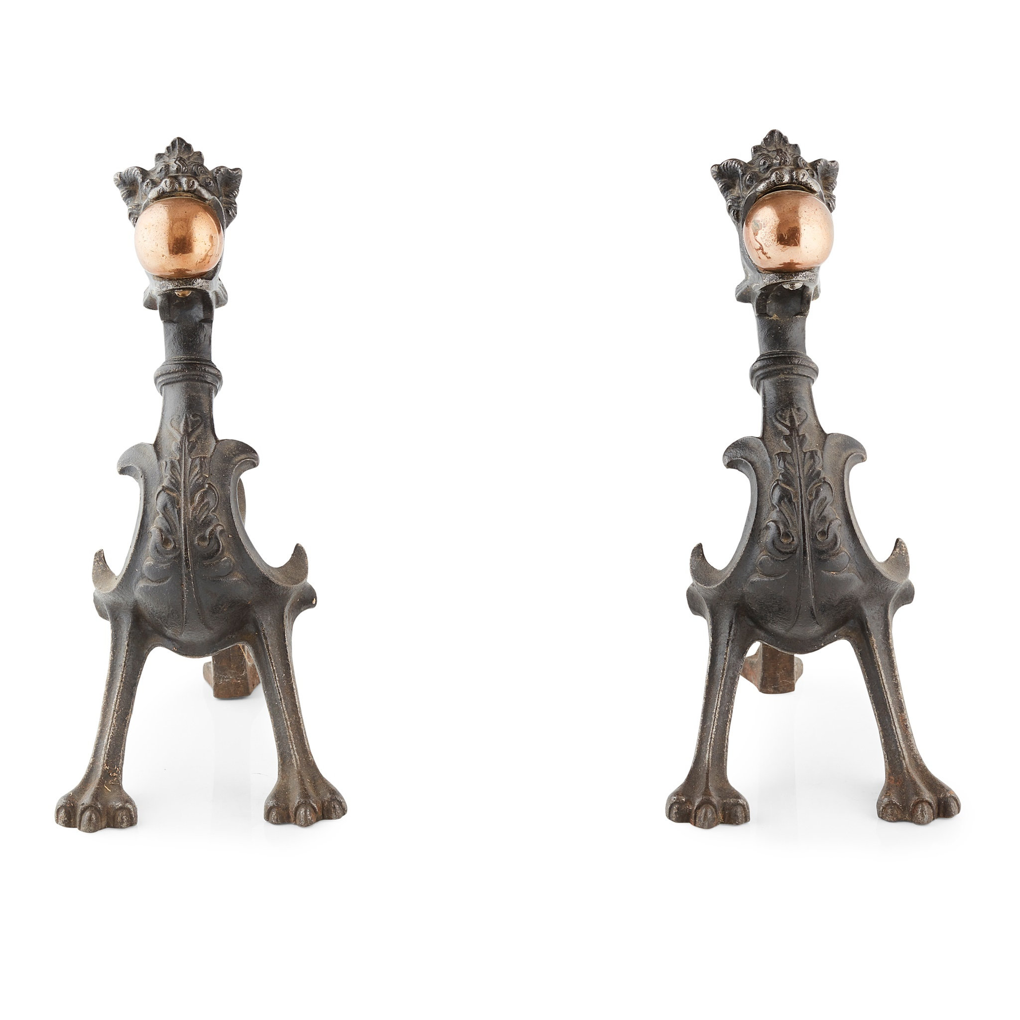 PAIR OF CAST IRON AND COPPER FIREDOGS 19TH CENTURY - Image 2 of 2