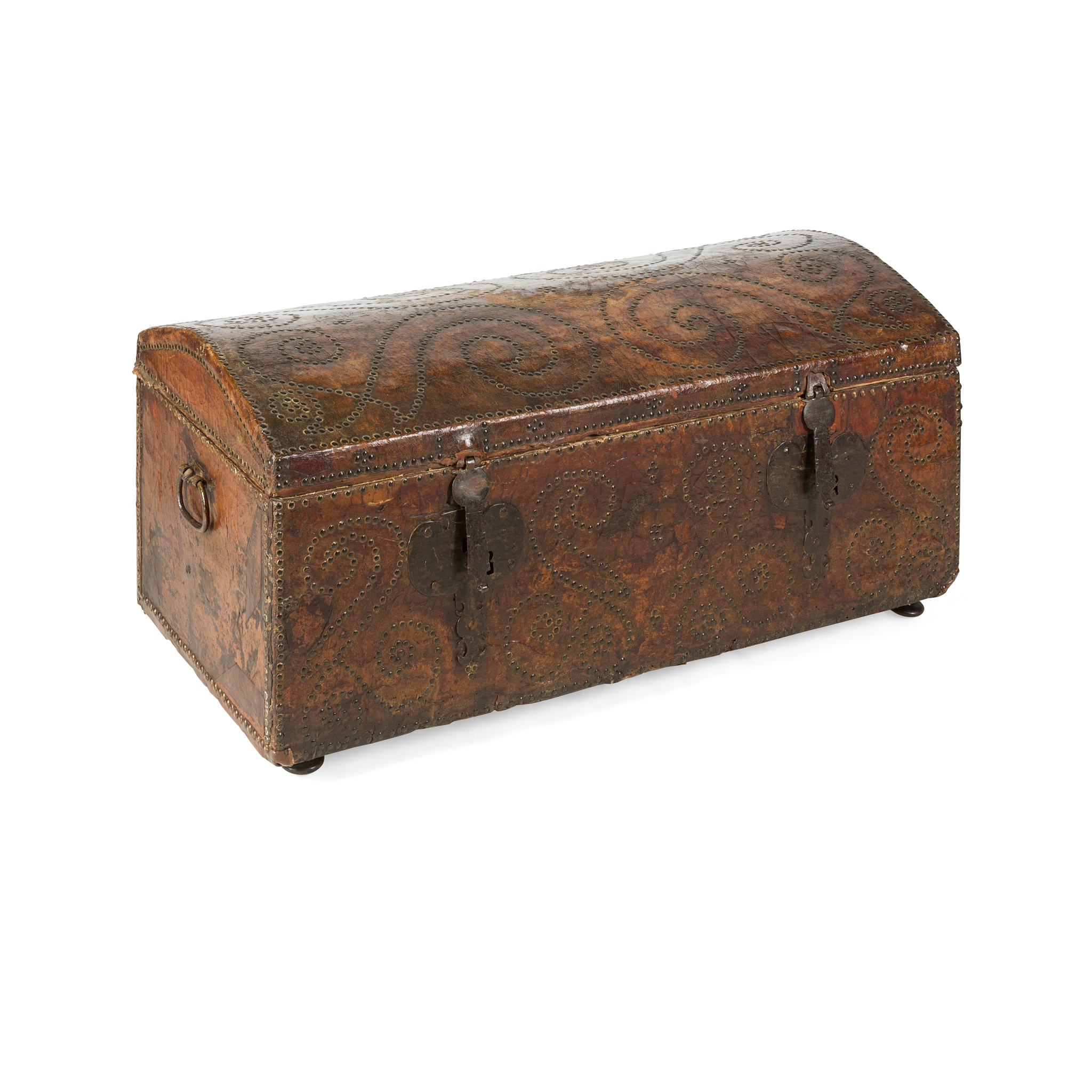LEATHER AND BRASS STUDDED DOME TOP TRUNK 17TH CENTURY