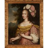 17TH CENTURY FRENCH SCHOOL HALF LENGTH PORTRAIT OF A LADY AS DIANA