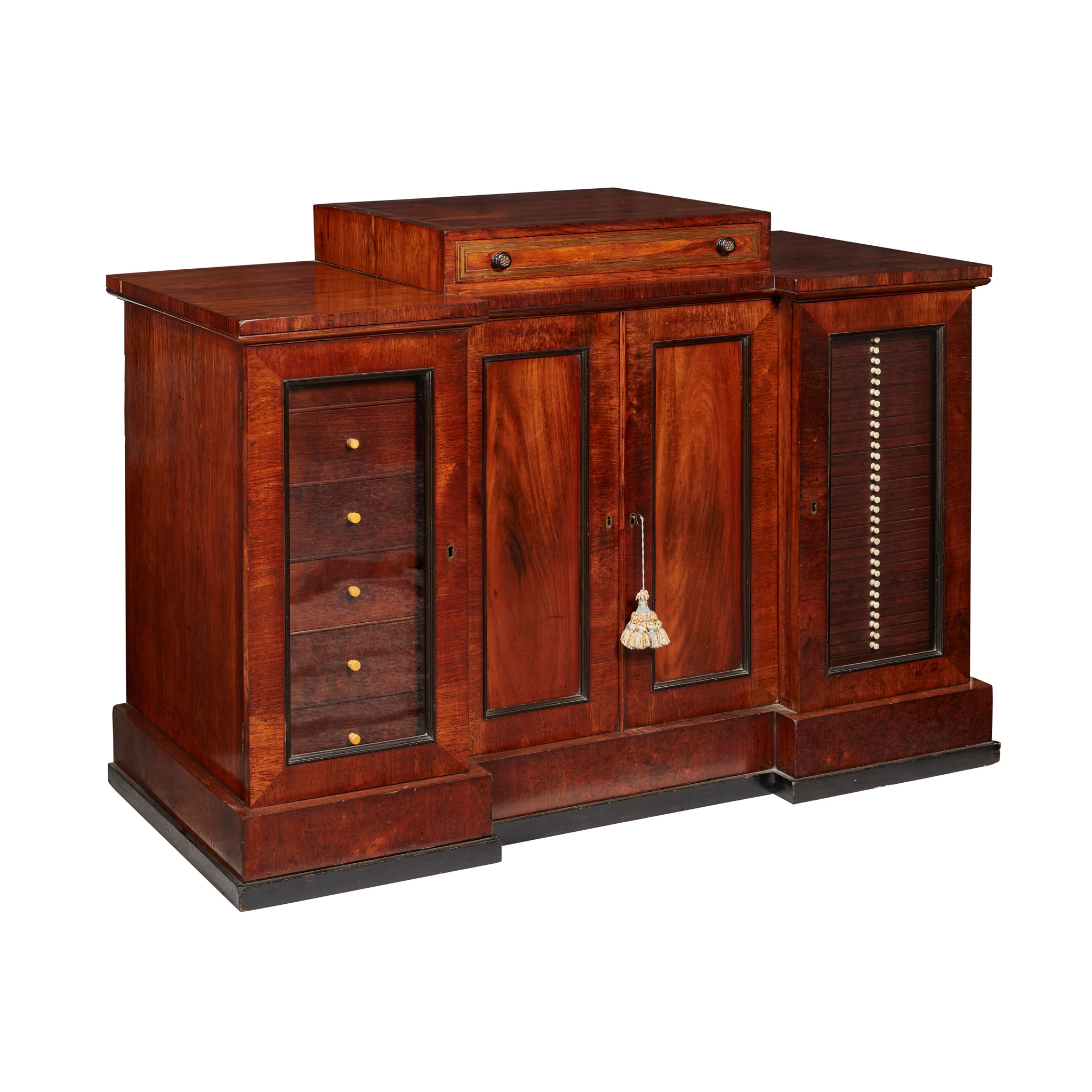 Y GEORGE IV ROSEWOOD AND BRASS INLAID COLLECTOR'S CABINET, IN THE MANNER OF GEORGE BULLOCK EARLY