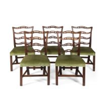 SET OF FIVE GEORGE III MAHOGANY DINING CHAIRS 18TH CENTURY