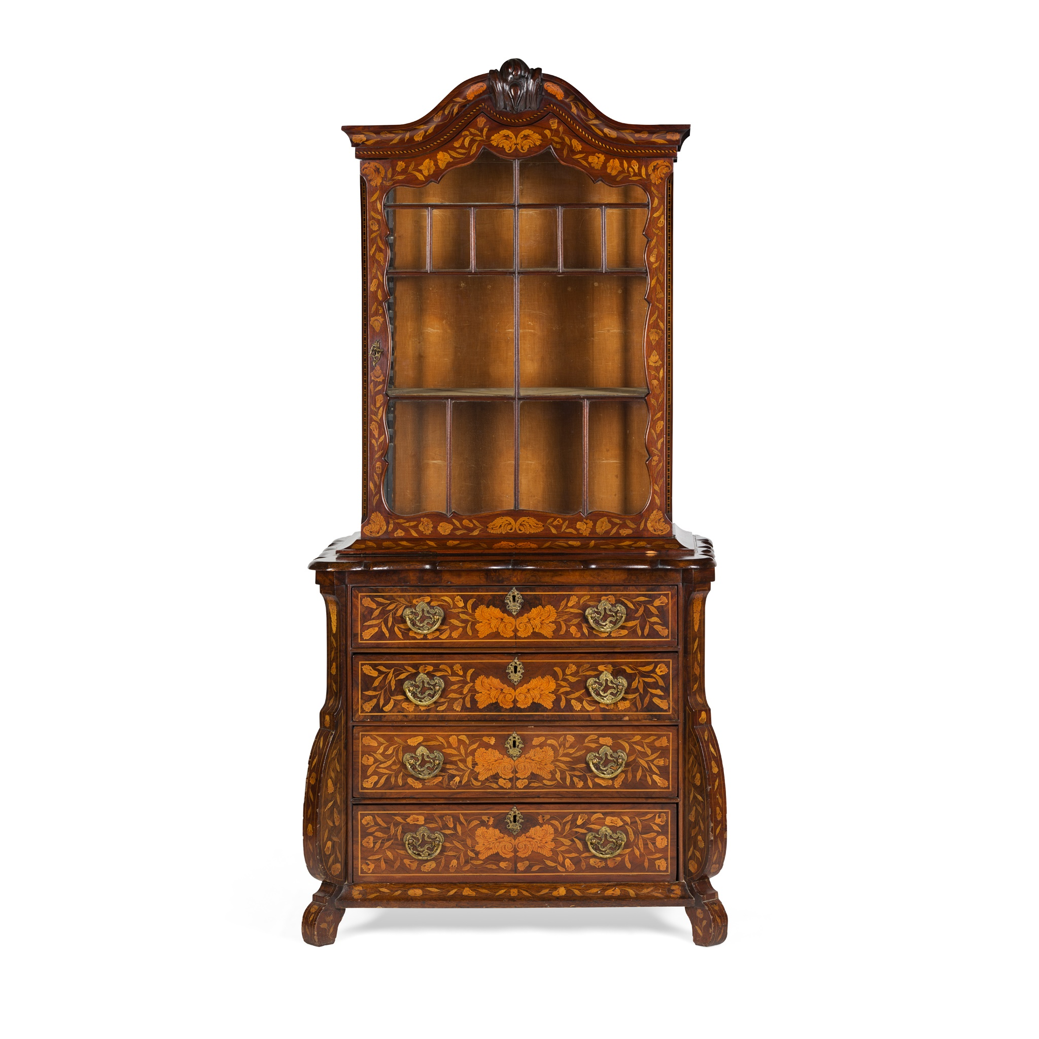 DUTCH WALNUT AND MARQUETRY DISPLAY CABINET-ON-CHEST EARLY 19TH CENTURY