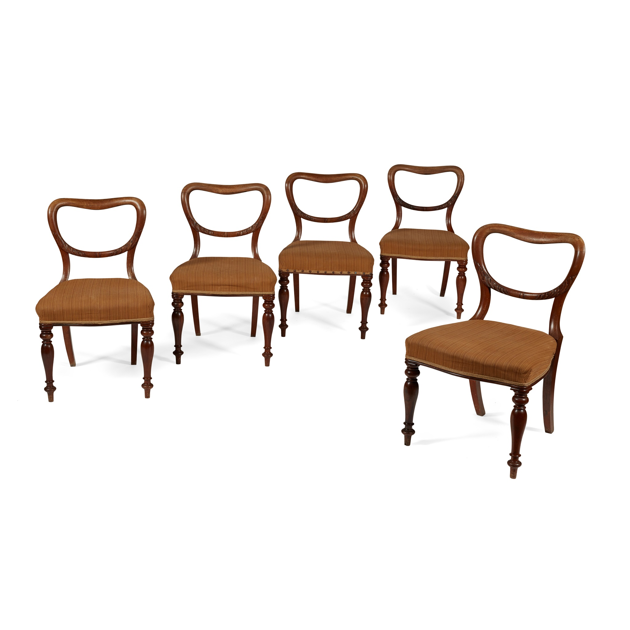SET OF FIVE VICTORIAN MAHOGANY BALLOON BACK DINING CHAIRS MID 19TH CENTURY