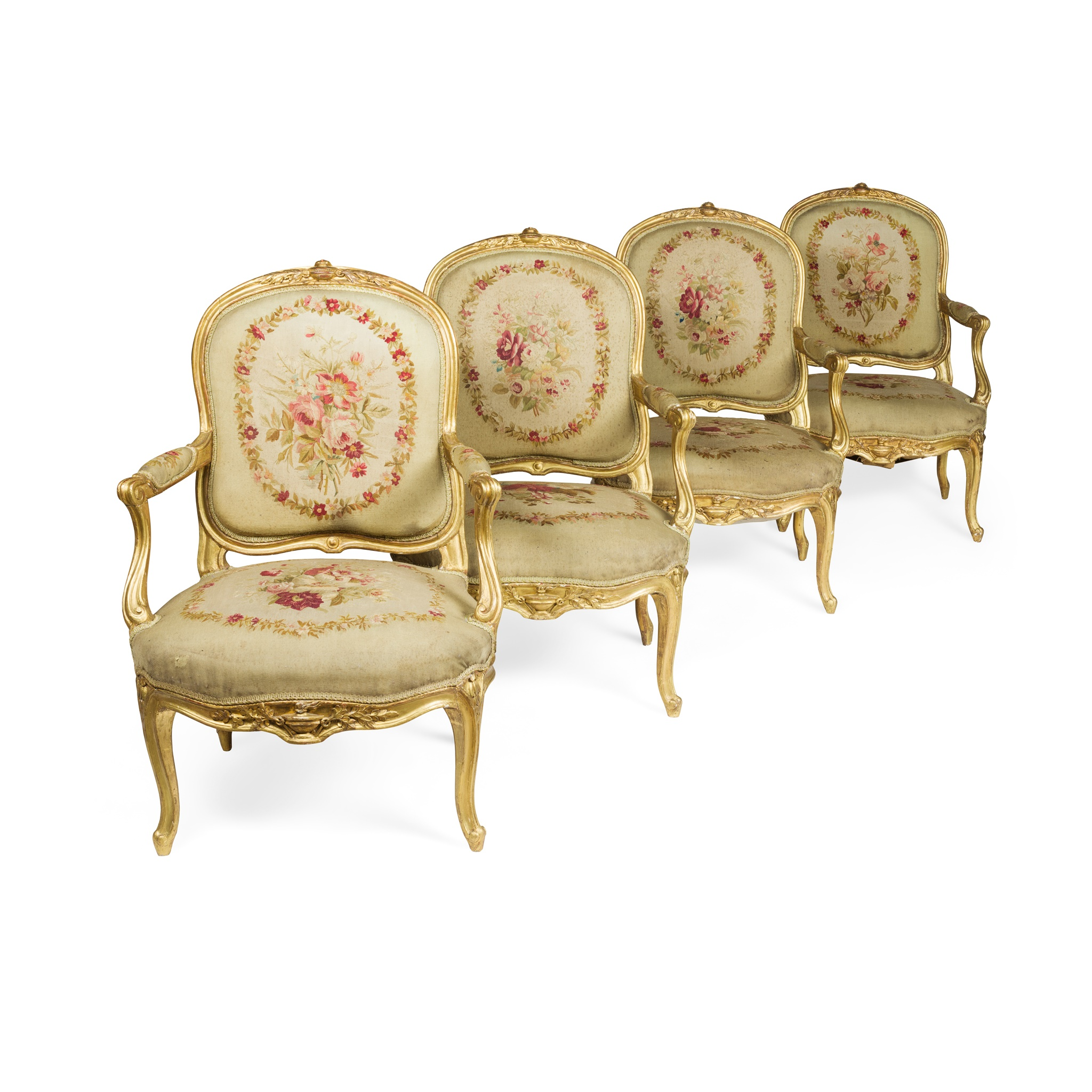 SUITE OF FOUR FRENCH GILTWOOD AND AUBUSSON FAUTEUILS 19TH CENTURY