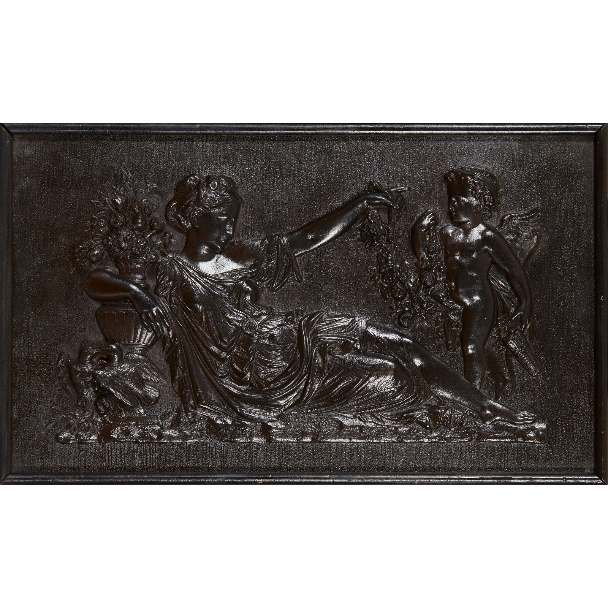PAIR OF CLASSICAL BRONZE RELIEF PLAQUES LATE 19TH/ EARLY 20TH CENTURY