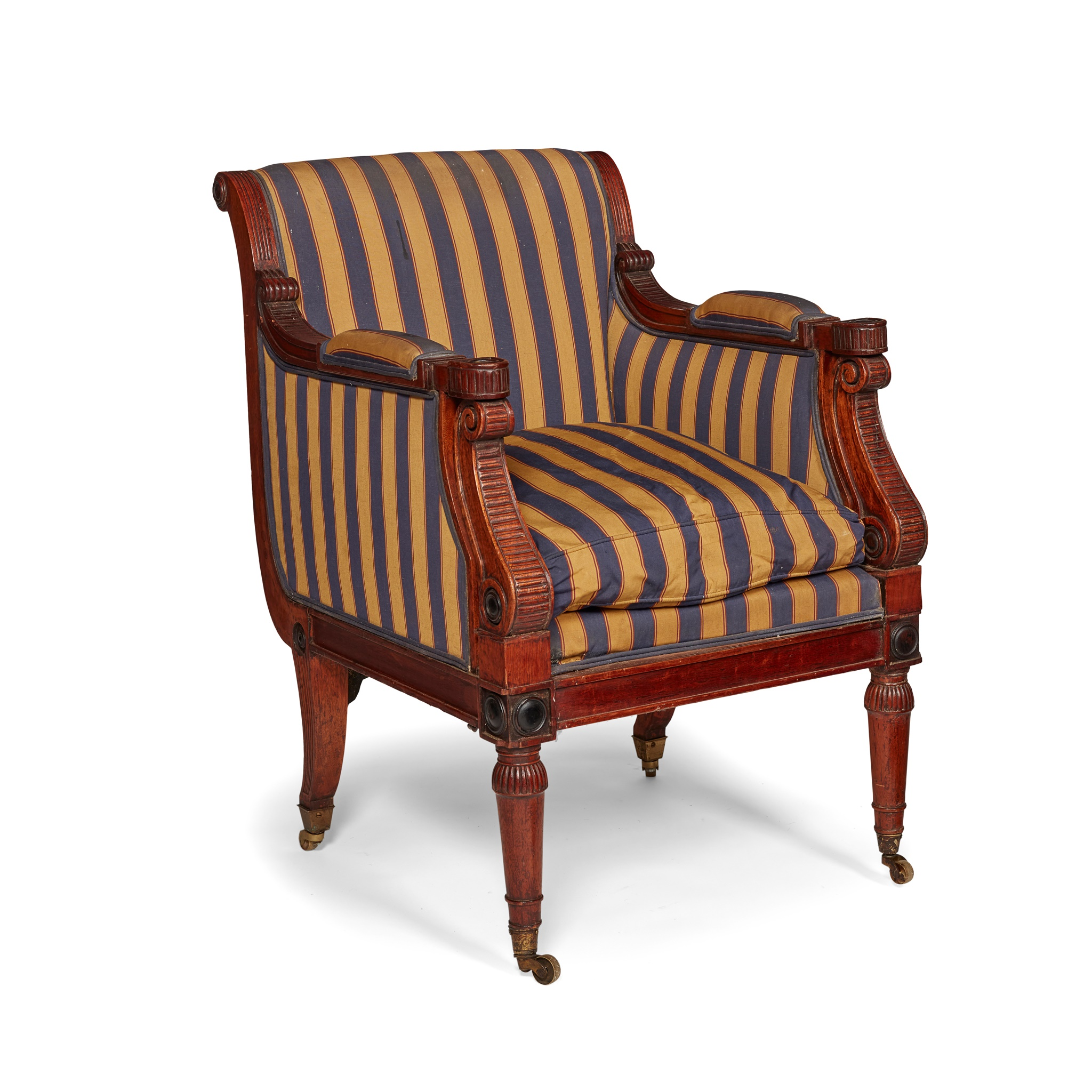 REGENCY OAK AND EBONISED LIBRARY ARMCHAIR, IN THE MANNER OF GEORGE BULLOCK EARLY 19TH CENTURY