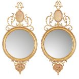 PAIR OF GEORGE III GILT AND VERRE ÉGLOMISÉ MIRRORS EARLY 19TH CENTURY
