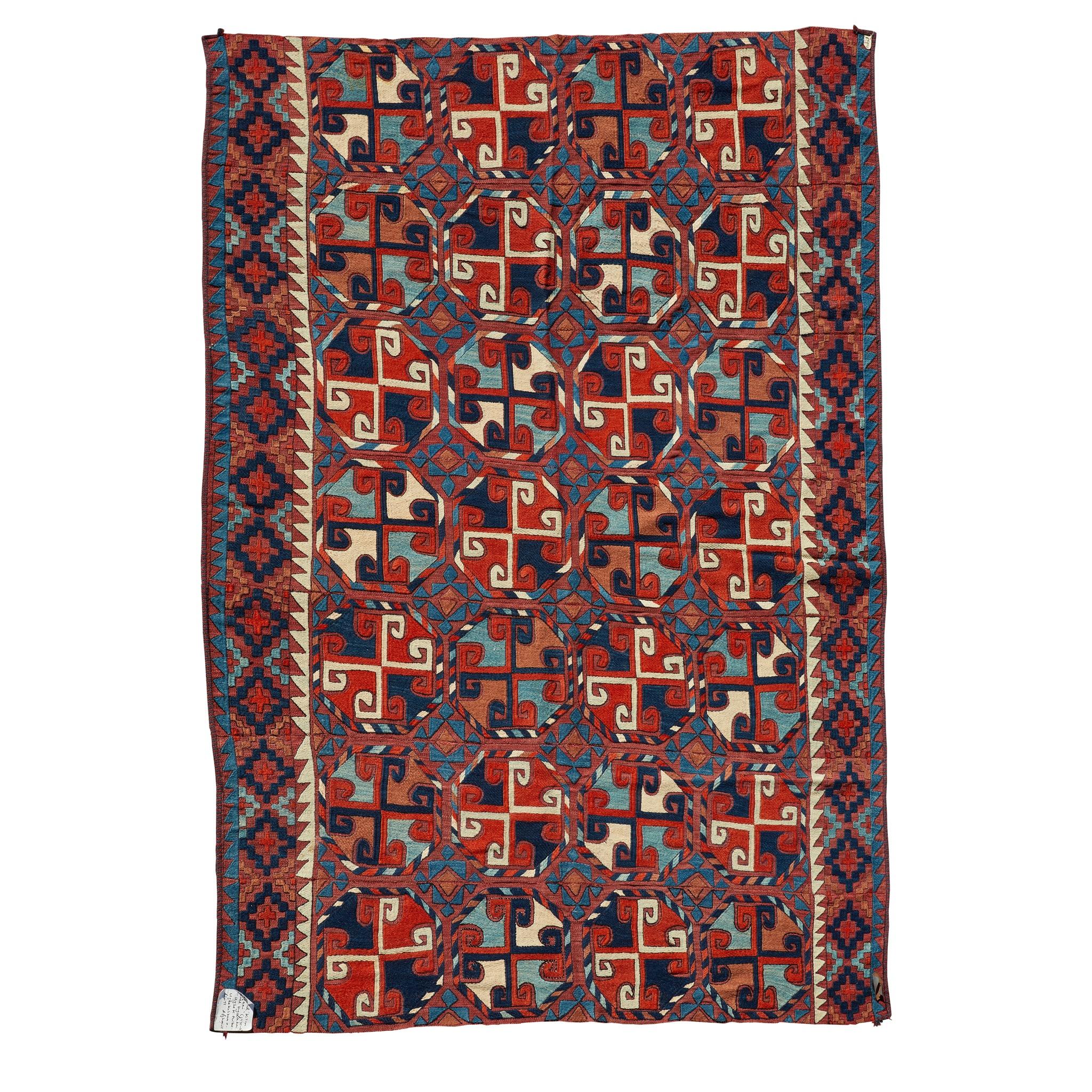 LAKAI FLATWEAVE CARPET UZBEKISTAN, MID 20TH CENTURY