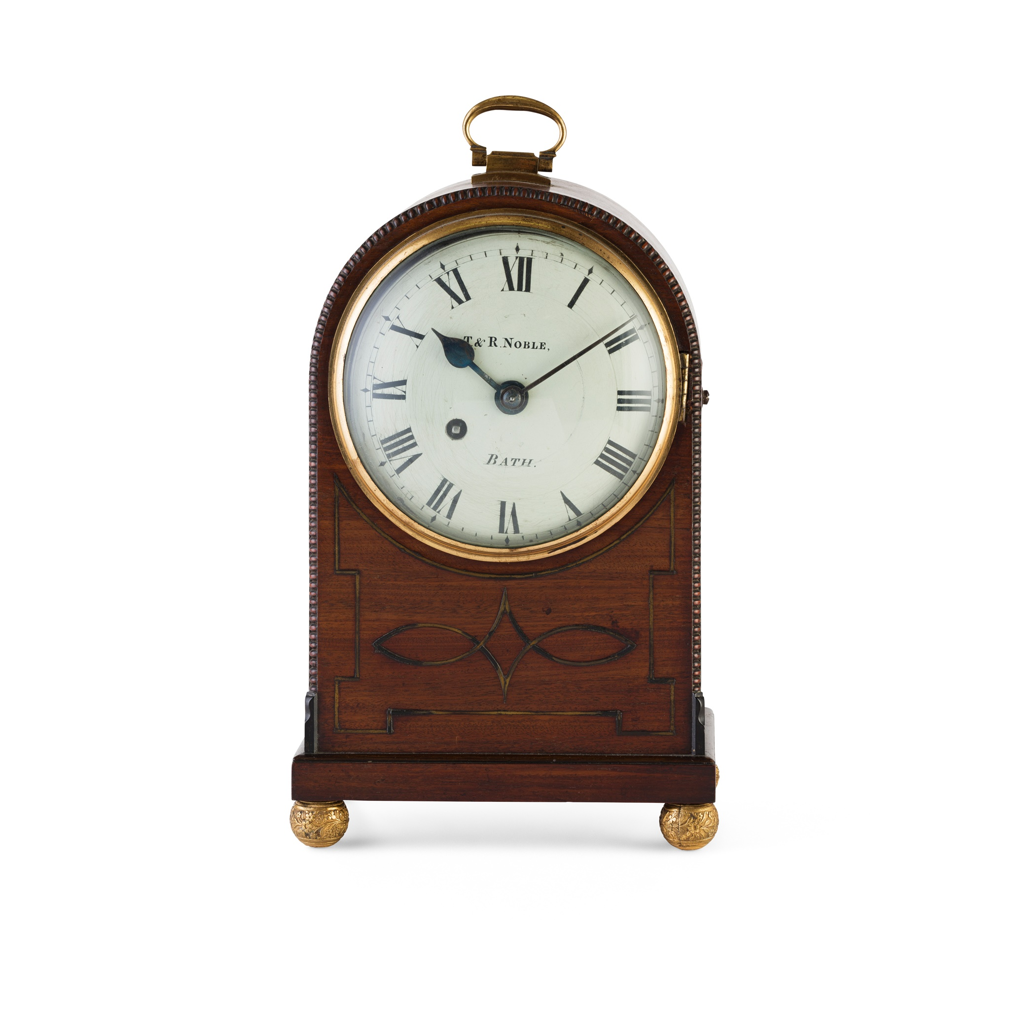 REGENCY MAHOGANY BRASS INLAID MANTLE CLOCK, T & R NOBLE, BATH EARLY 19TH CENTURY - Image 2 of 2