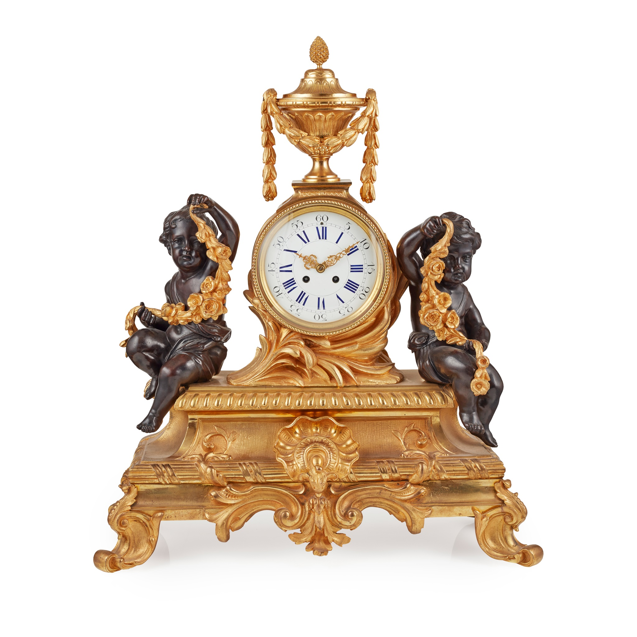 LARGE FRENCH GILT AND PATINATED BRONZE MANTEL CLOCK 19TH CENTURY
