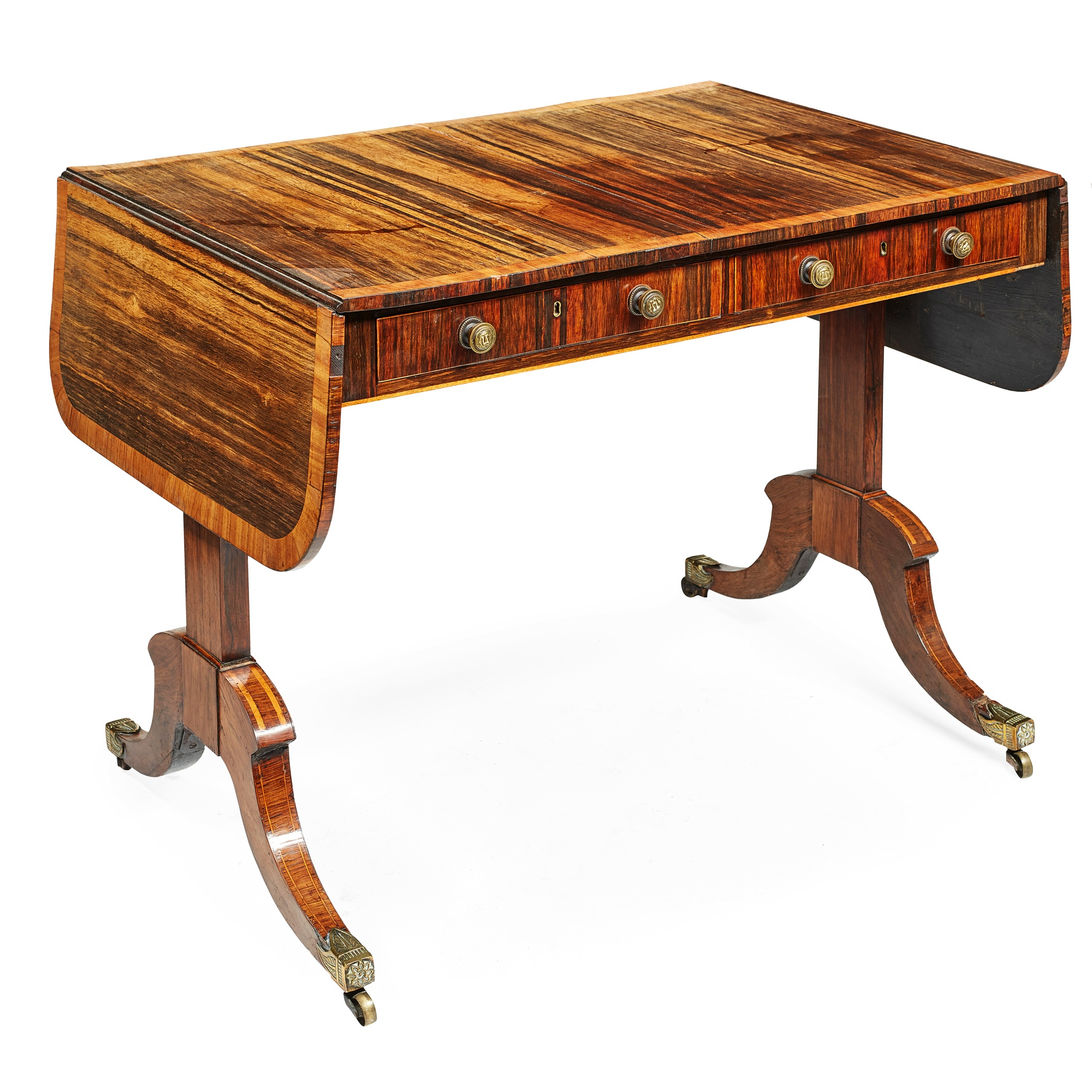 REGENCY ZEBRAWOOD AND KINGWOOD SOFA TABLE EARLY 19TH CENTURY