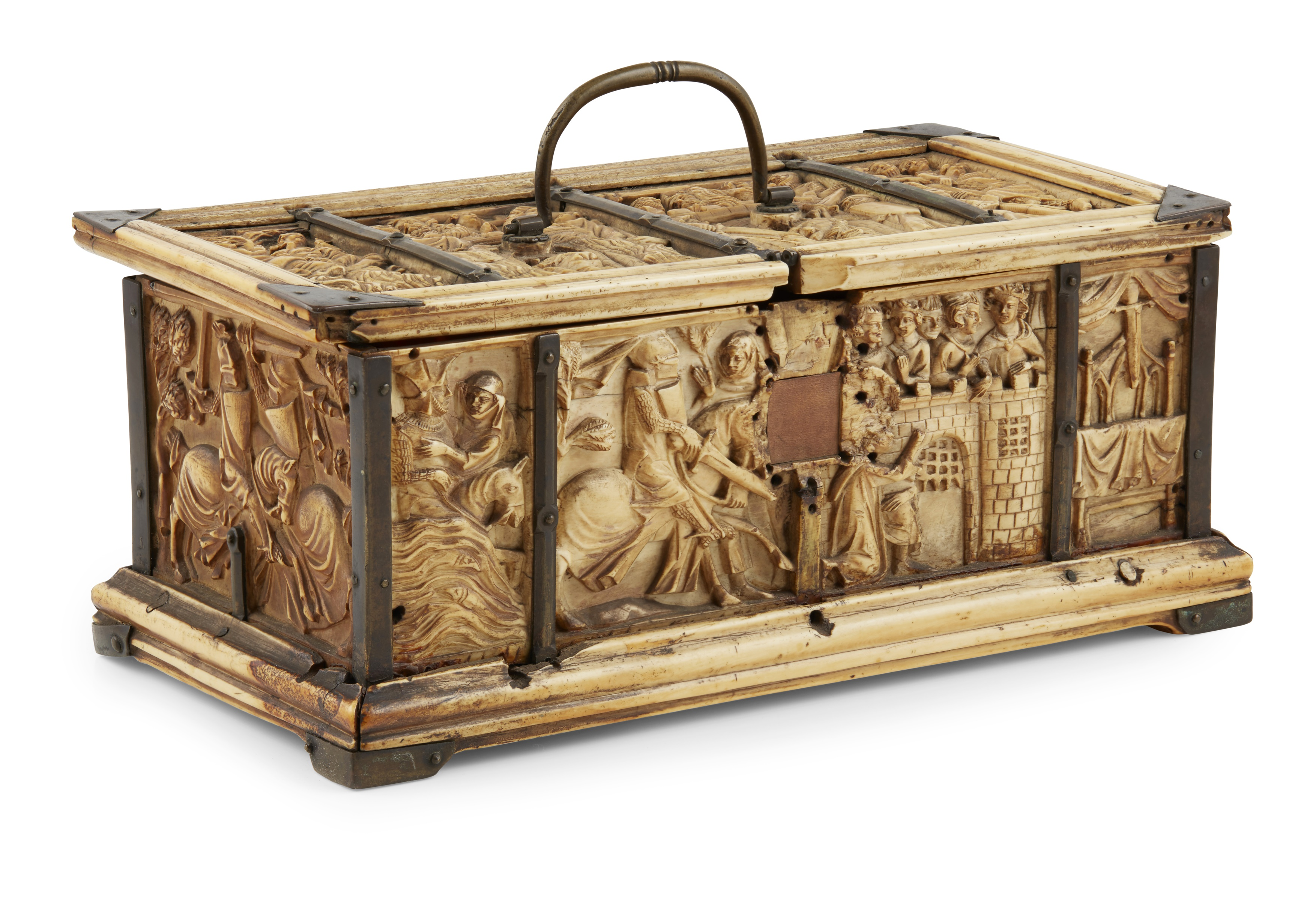 Y ◆ RARE AND IMPORTANT FRENCH GOTHIC IVORY COMPOSITE CASKET CIRCA 1330