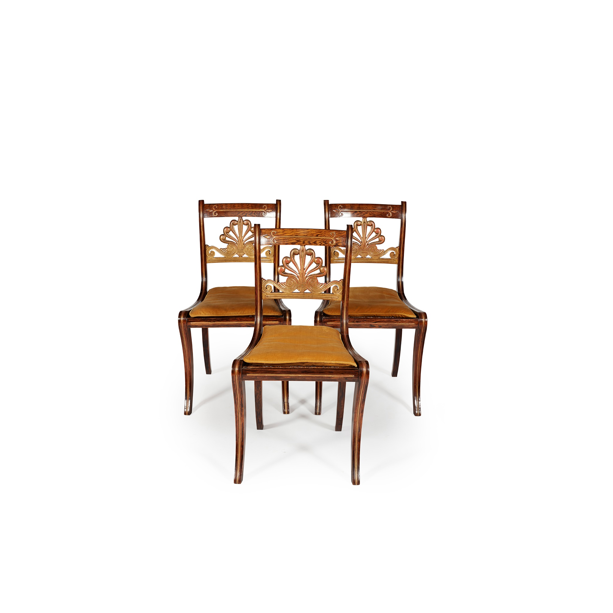 Y SET OF THREE ROSEWOOD GRAIN-PAINTED AND GILT SIDE CHAIRS EARLY 19TH CENTURY