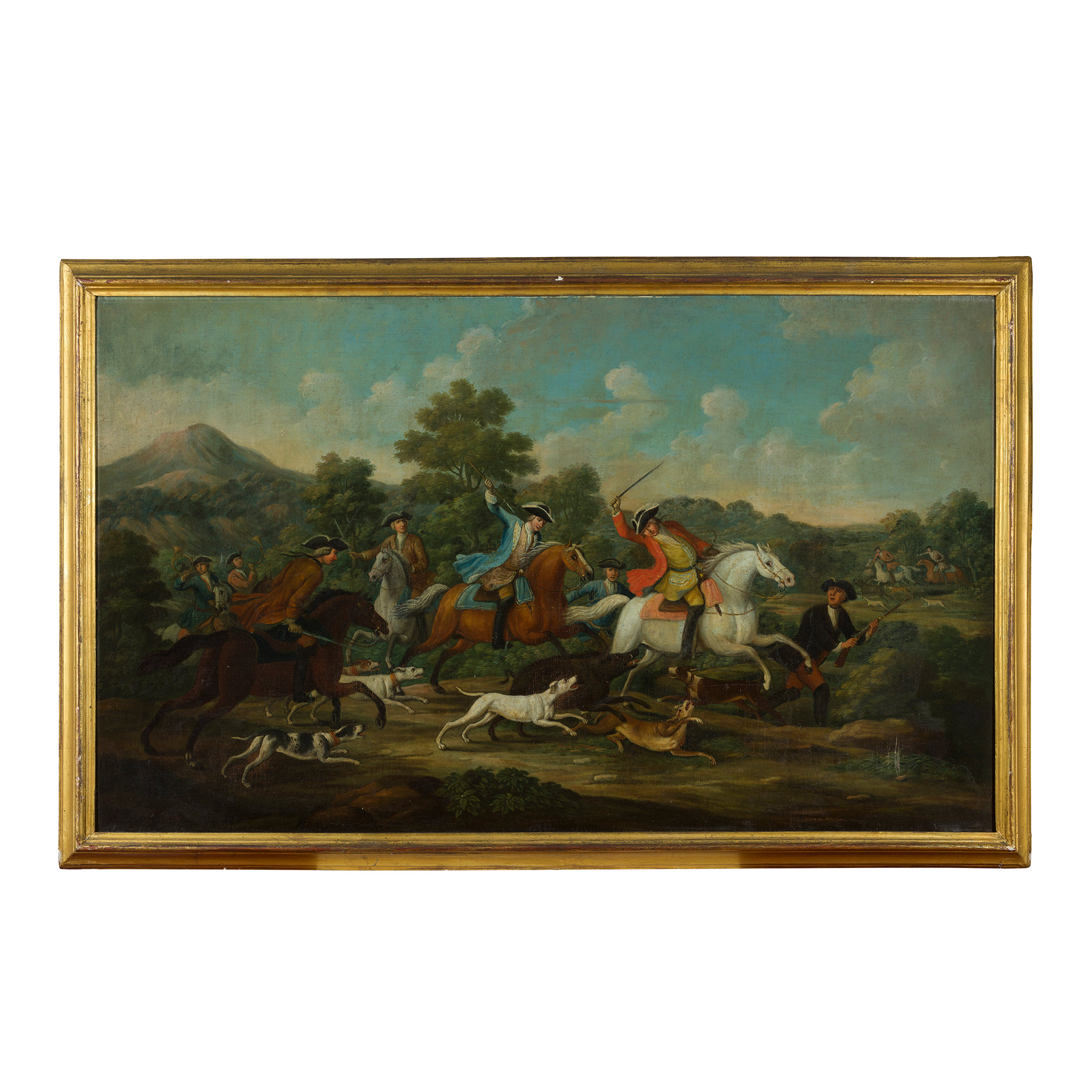 18TH CENTURY FRENCH SCHOOL ELEGANT FIGURES BOAR HUNTING - Image 5 of 8