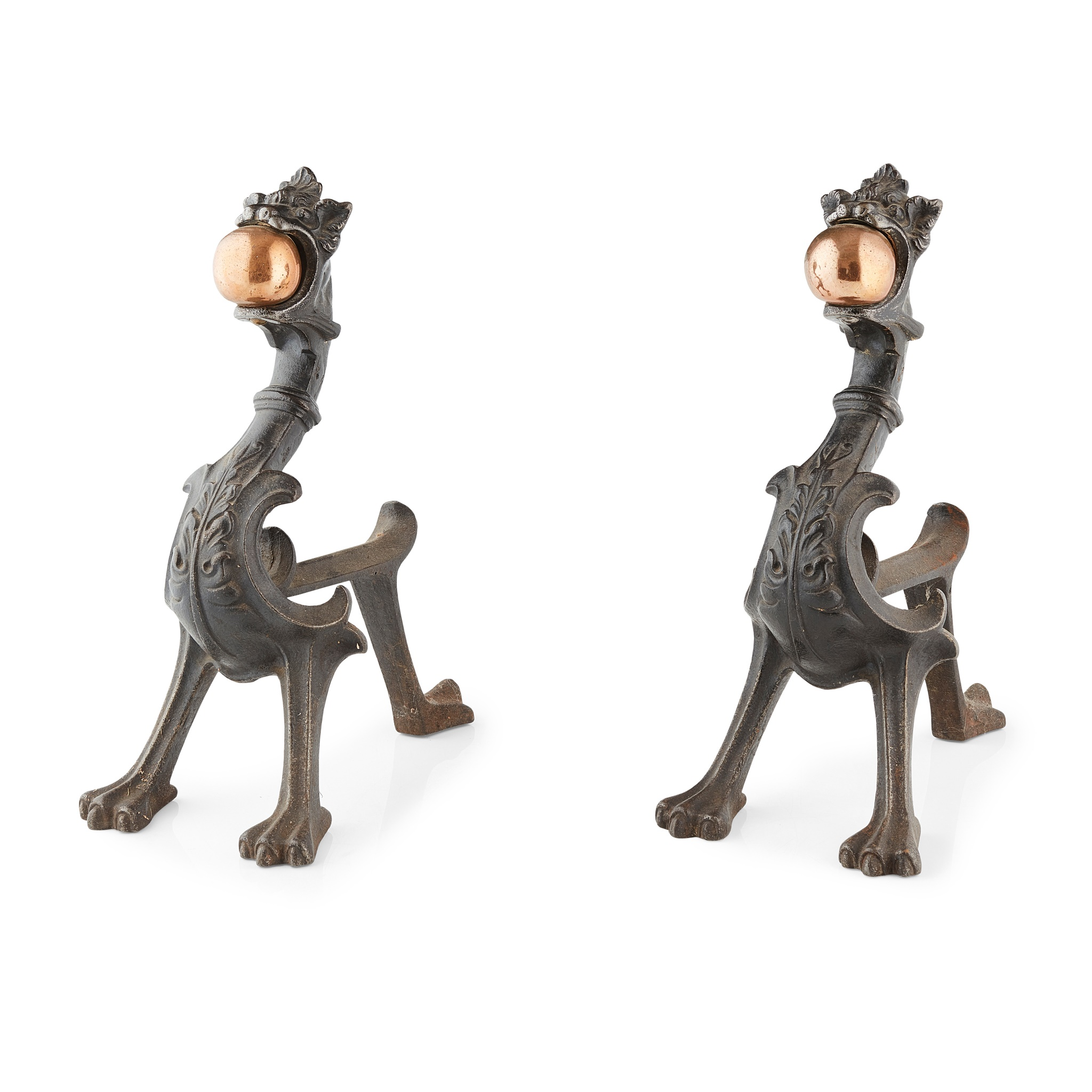 PAIR OF CAST IRON AND COPPER FIREDOGS 19TH CENTURY