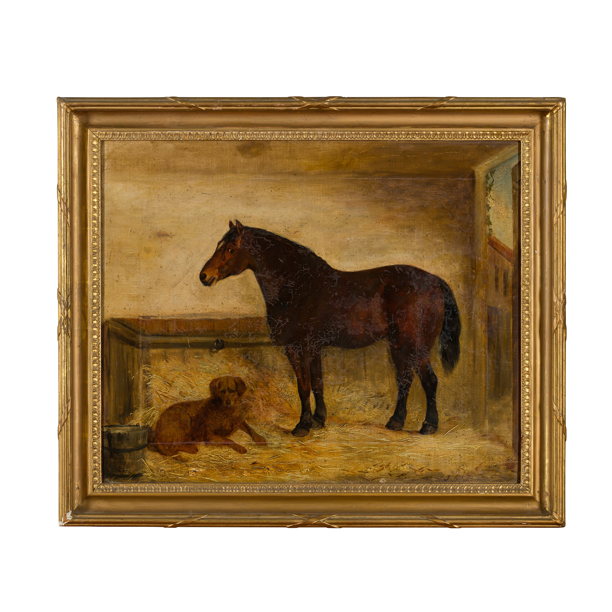 19TH CENTURY ENGLISH SCHOOL DARK BAY COB WITH A RETREIVER IN A STABLE - Image 2 of 2