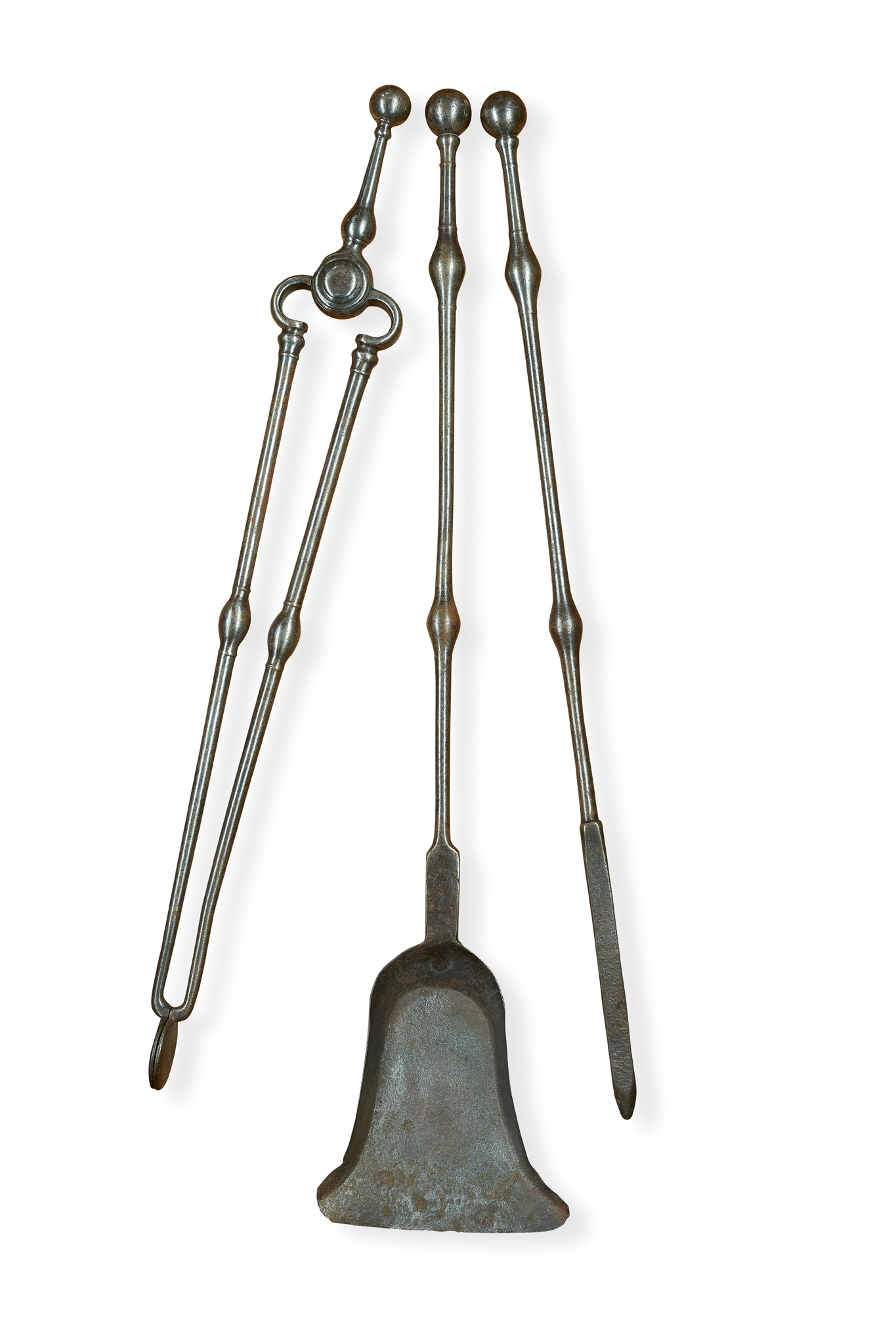 SET OF GEORGE III STEEL FIRE IRONS EARLY 19TH CENTURY