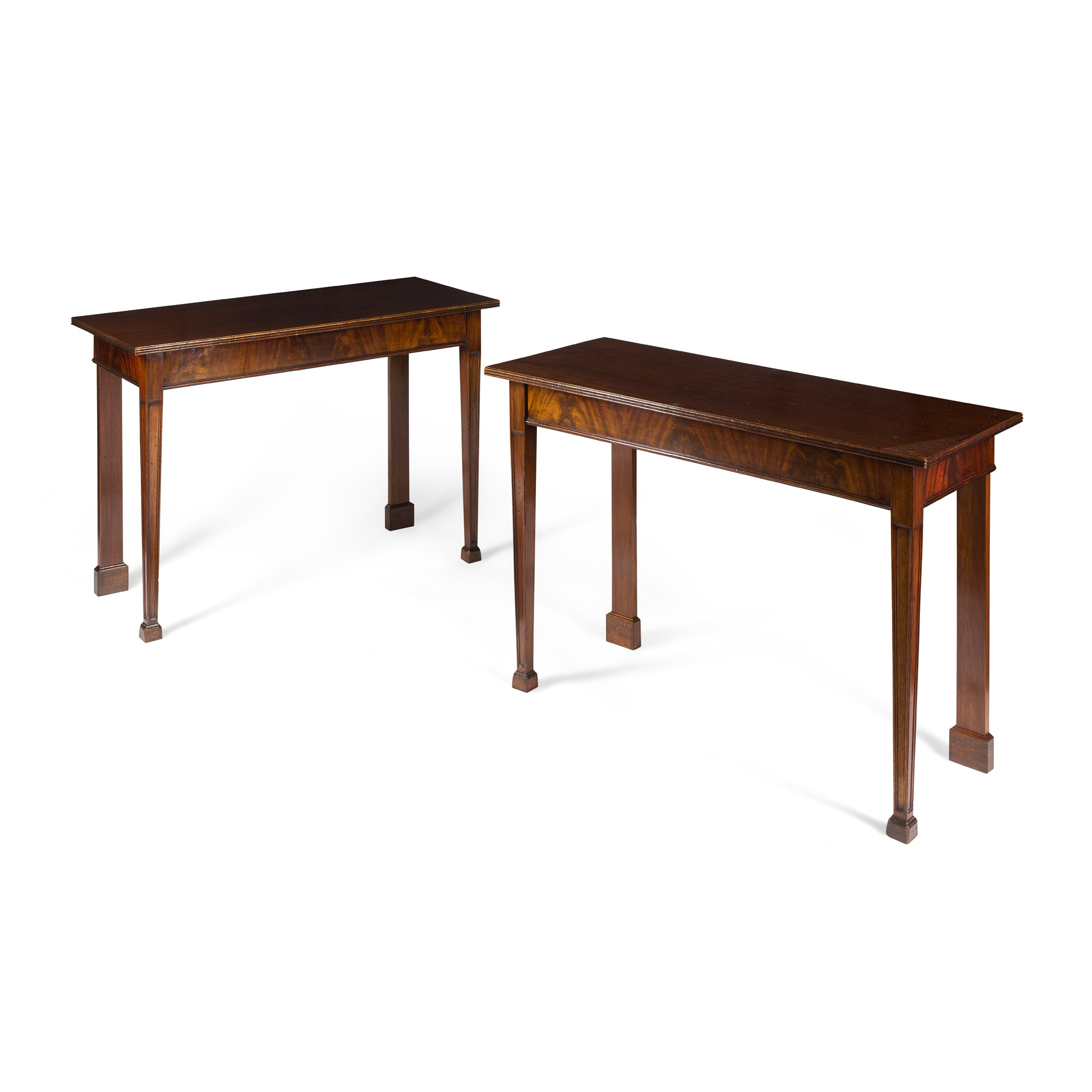 PAIR OF GEORGIAN STYLE MAHOGANY HALL TABLES 19TH CENTURY, LATER ADAPTED