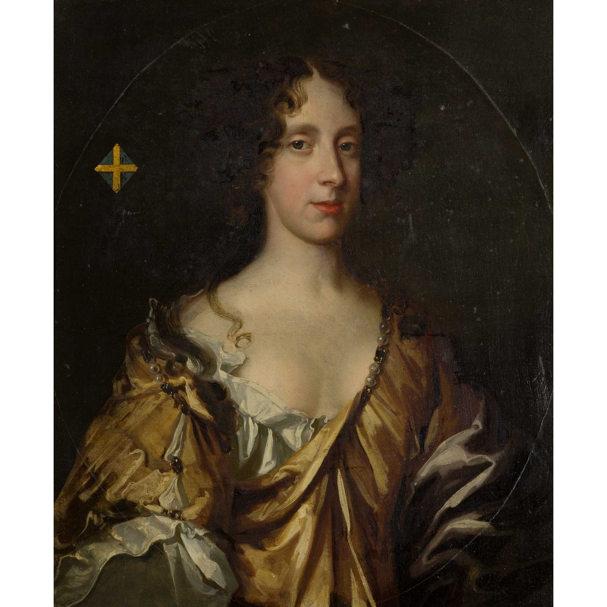 FOLLOWER OF SIR PETER LELY HALF LENGTH PORTRAIT OF THE DUCHESS OF CLEVELAND