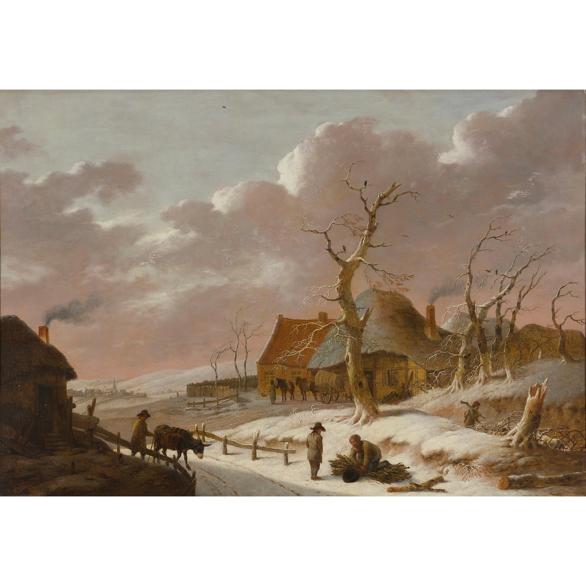 ATTRIBUTED TO HEINRICH WILHELM SCHWEICKARDT (GERMAN 1746-1797) A SNOW COVERED WINTER LANDSCAPE