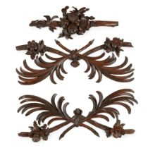 GROUP OF THREE 'GRINLING GIBBONS' TYPE CARVED MOULDINGS 19TH CENTURY