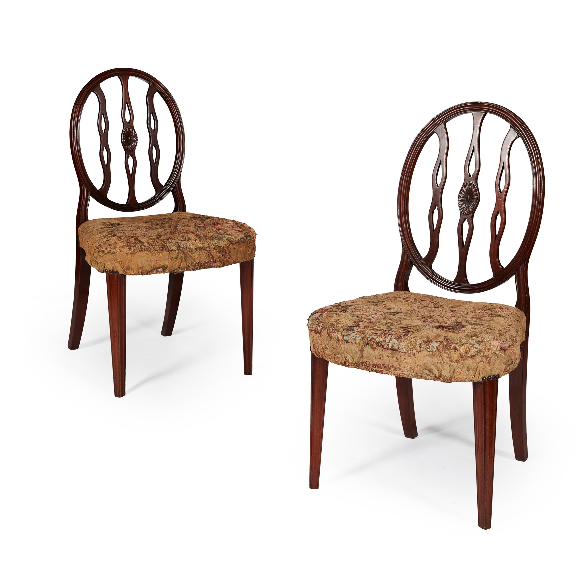 PAIR OF GEORGE III STAINED BEECH AND MAHOGANY SIDE CHAIRS LATE 18TH CENTURY