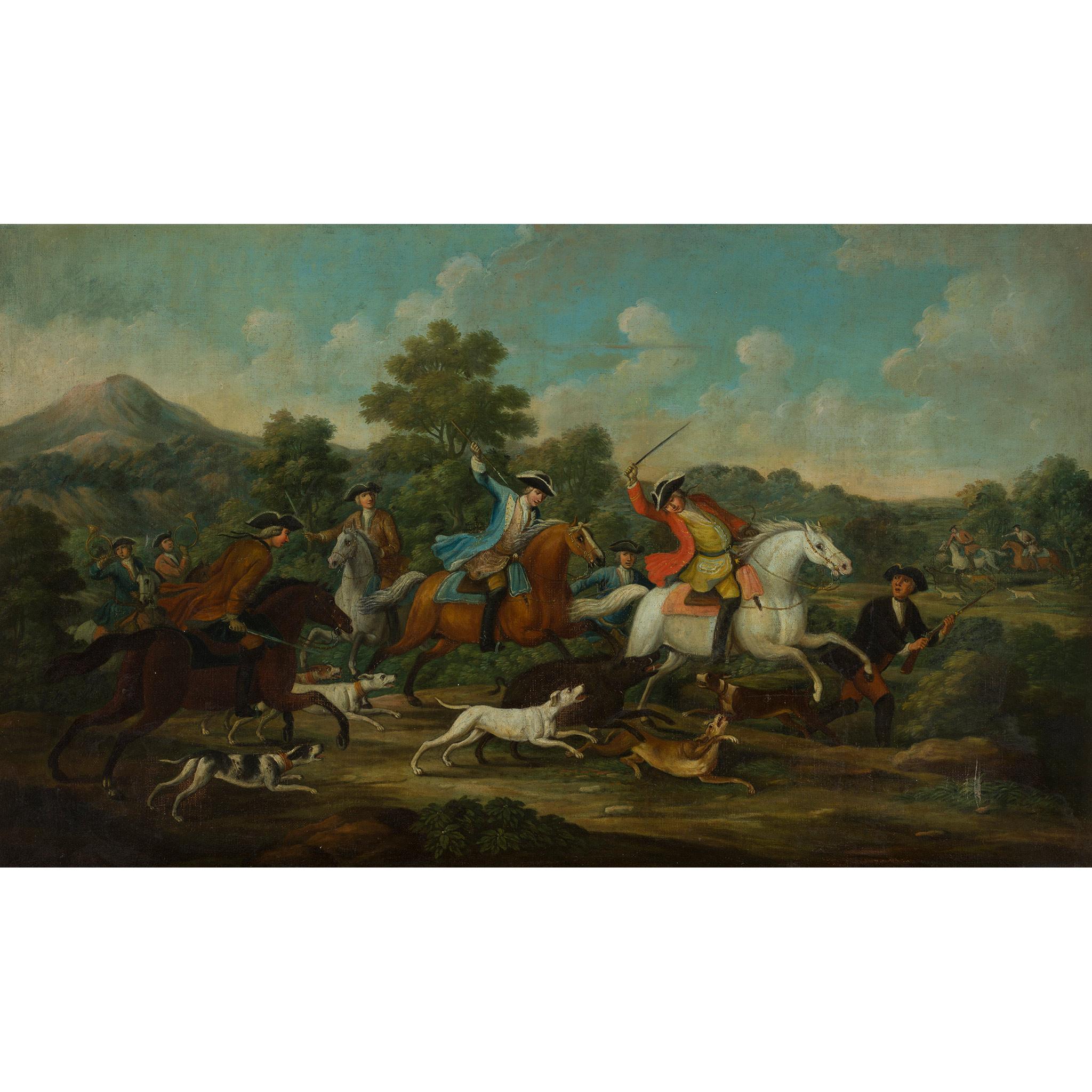 18TH CENTURY FRENCH SCHOOL ELEGANT FIGURES BOAR HUNTING - Image 2 of 8