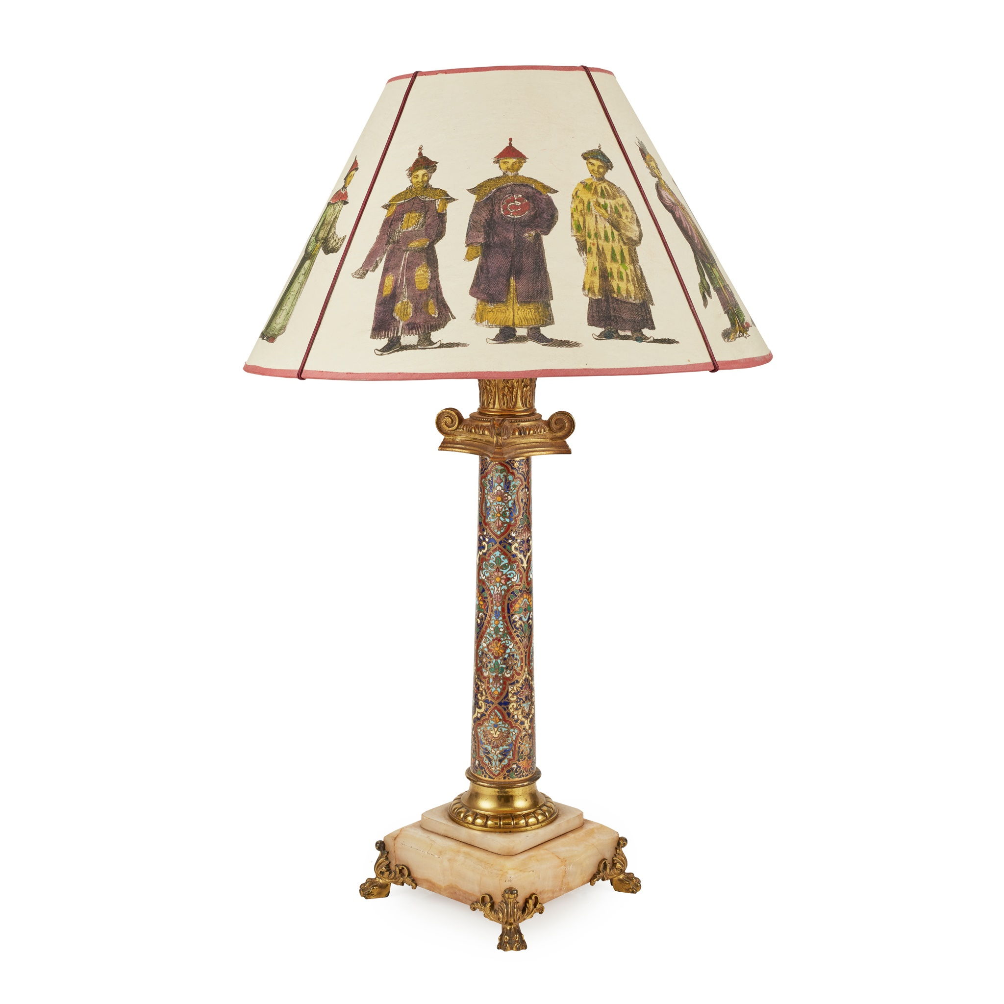 FRENCH CHAMPLEVÉ ENAMEL, GILT BRONZE AND ONYX LAMP 19TH CENTURY