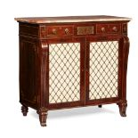 Y REGENCY ROSEWOOD, GRAIN PAINTED AND BRASS INLAID PARCEL GILT SIDE CABINET 19TH CENTURY