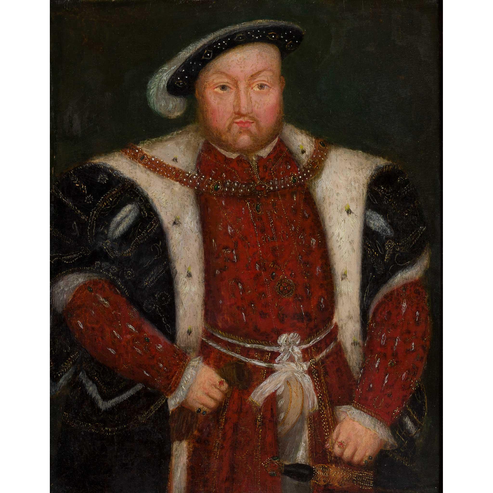 16TH/17TH CENTURY ENGLISH SCHOOL THREE QUARTER LENGTH PORTRAIT OF KING HENRY VIII