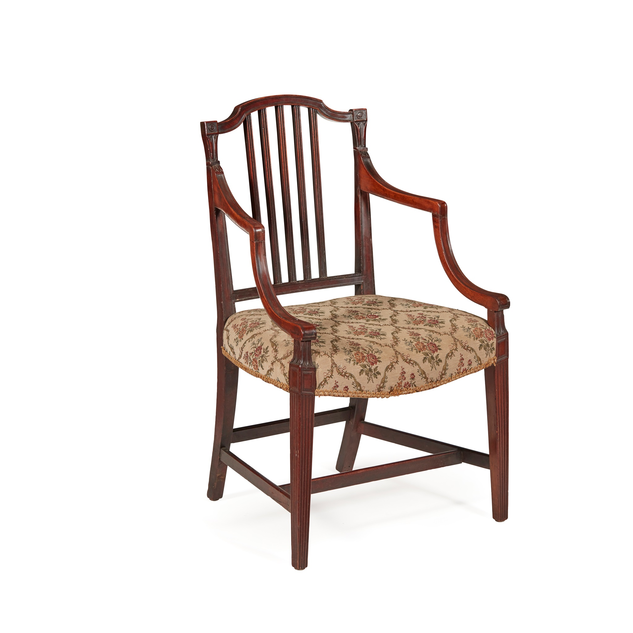 GEORGE III MAHOGANY OPEN ARMCHAIR LATE 18TH CENTURY - Image 2 of 2