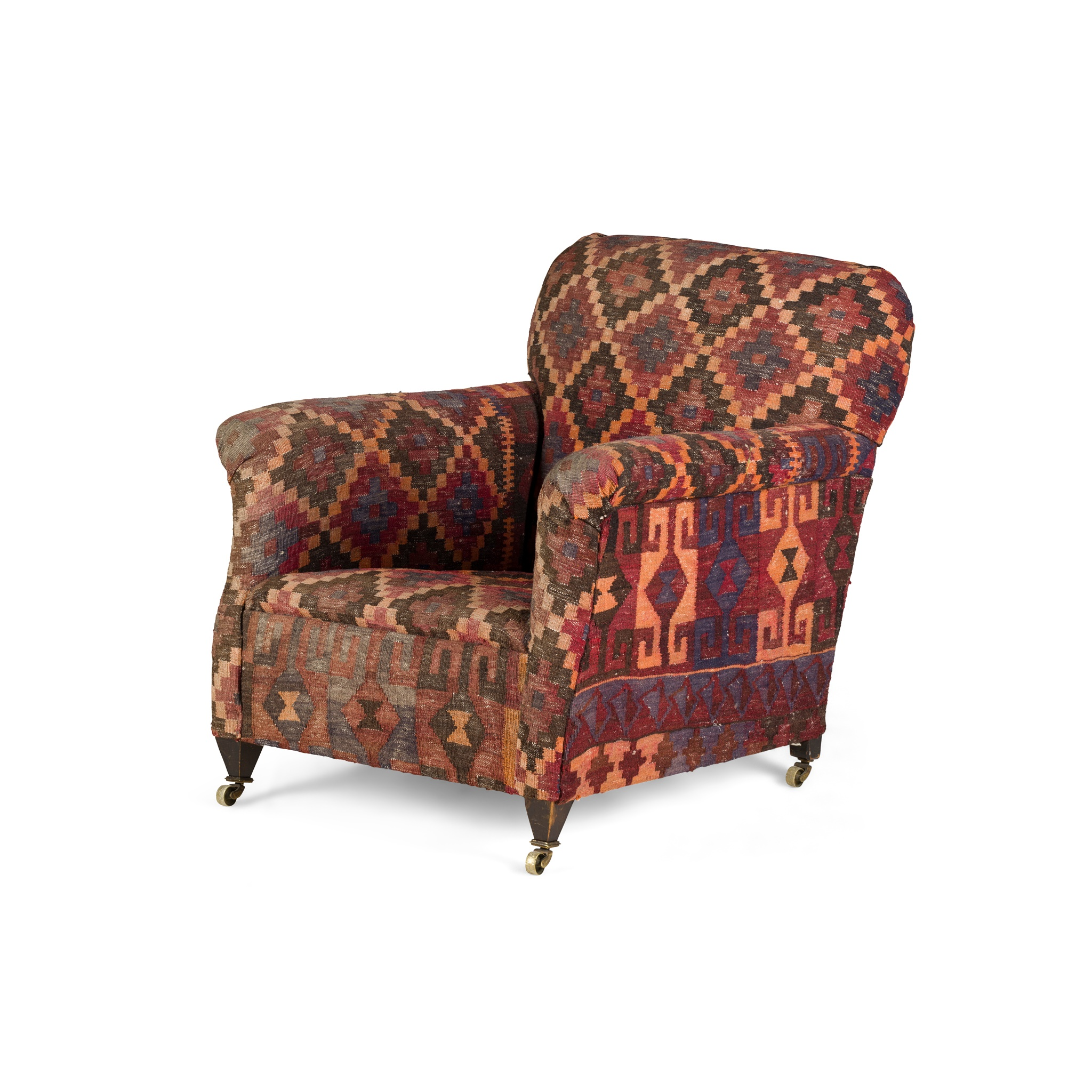 KELIM UPHOLSTERED ARMCHAIR EARLY 20TH CENTURY