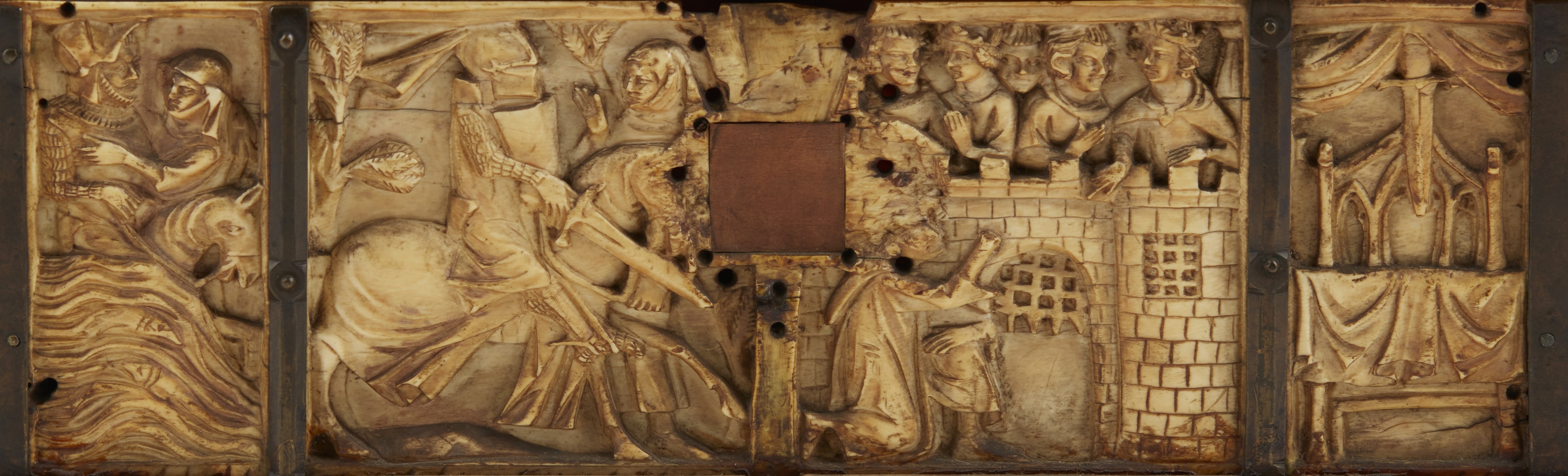Y ◆ RARE AND IMPORTANT FRENCH GOTHIC IVORY COMPOSITE CASKET CIRCA 1330 - Image 3 of 8
