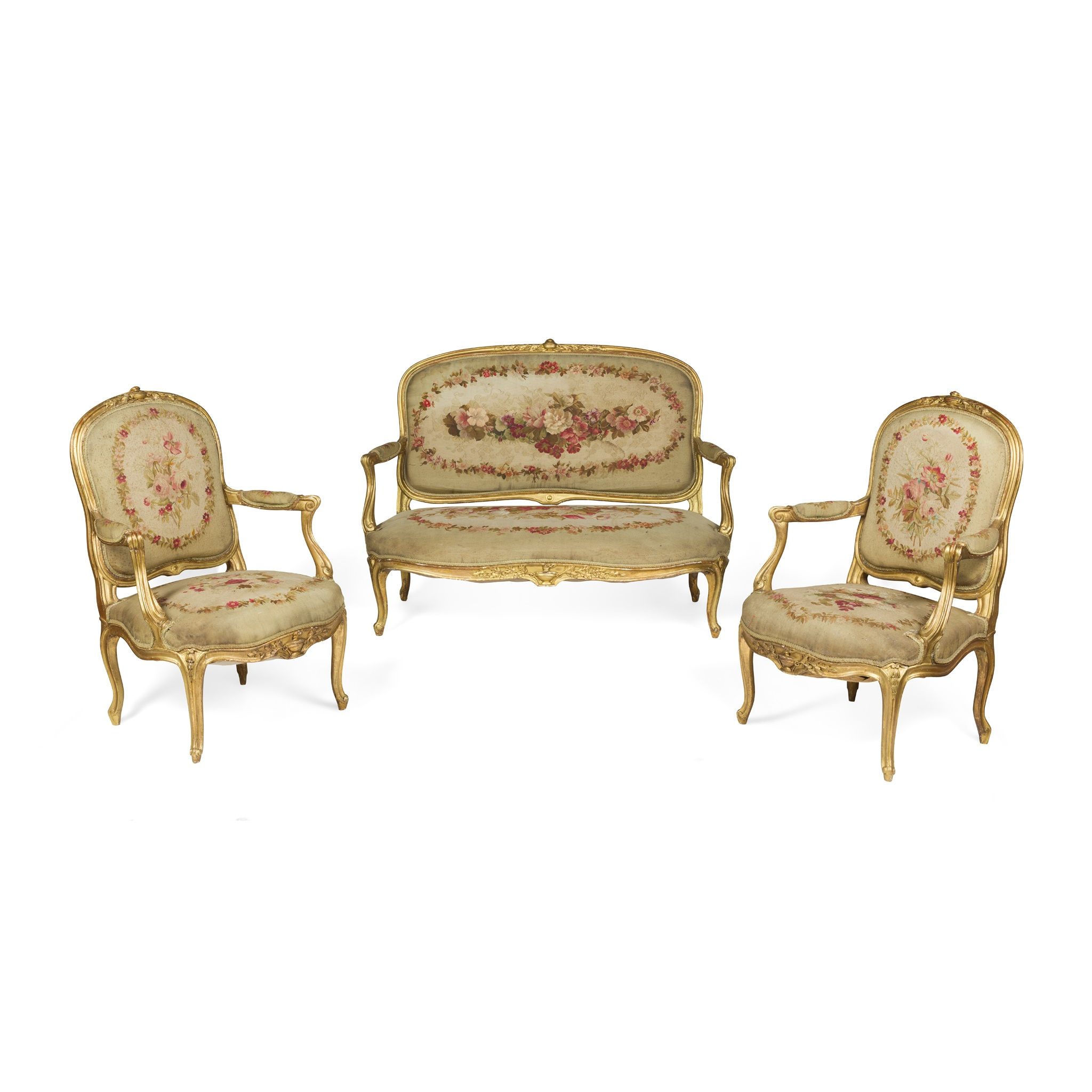 FRENCH THREE PIECE GILTWOOD AND AUBUSSON SALON SUITE 19TH CENTURY