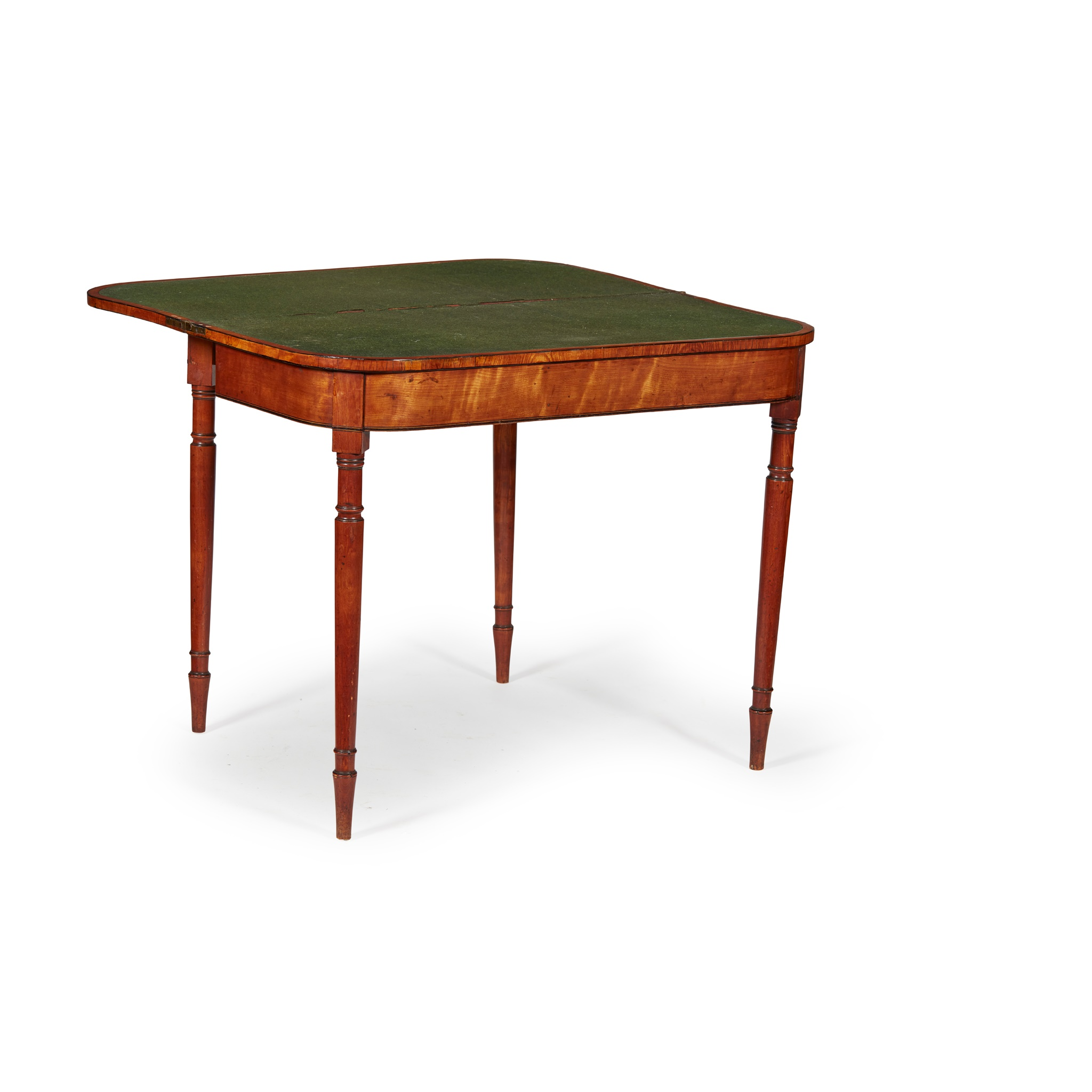 GEORGE III SATINWOOD AND EBONY CARD TABLE LATE 18TH CENTURY - Image 2 of 2
