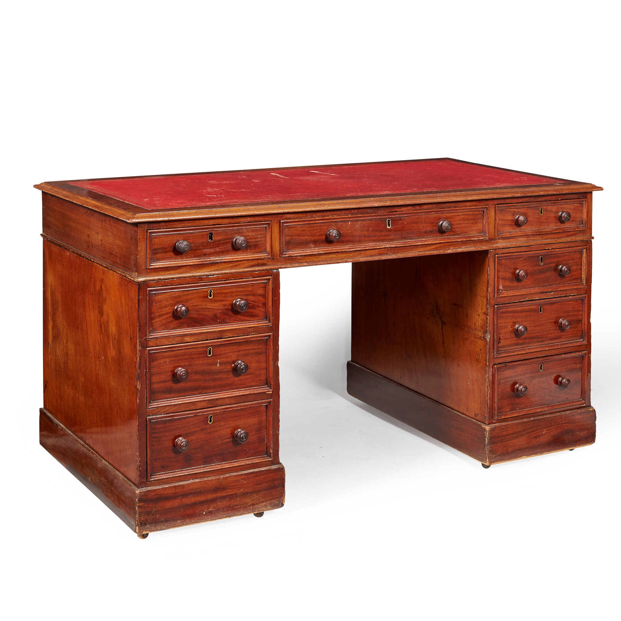 GEORGIAN STYLE MAHOGANY PEDESTAL DESK 19TH CENTURY