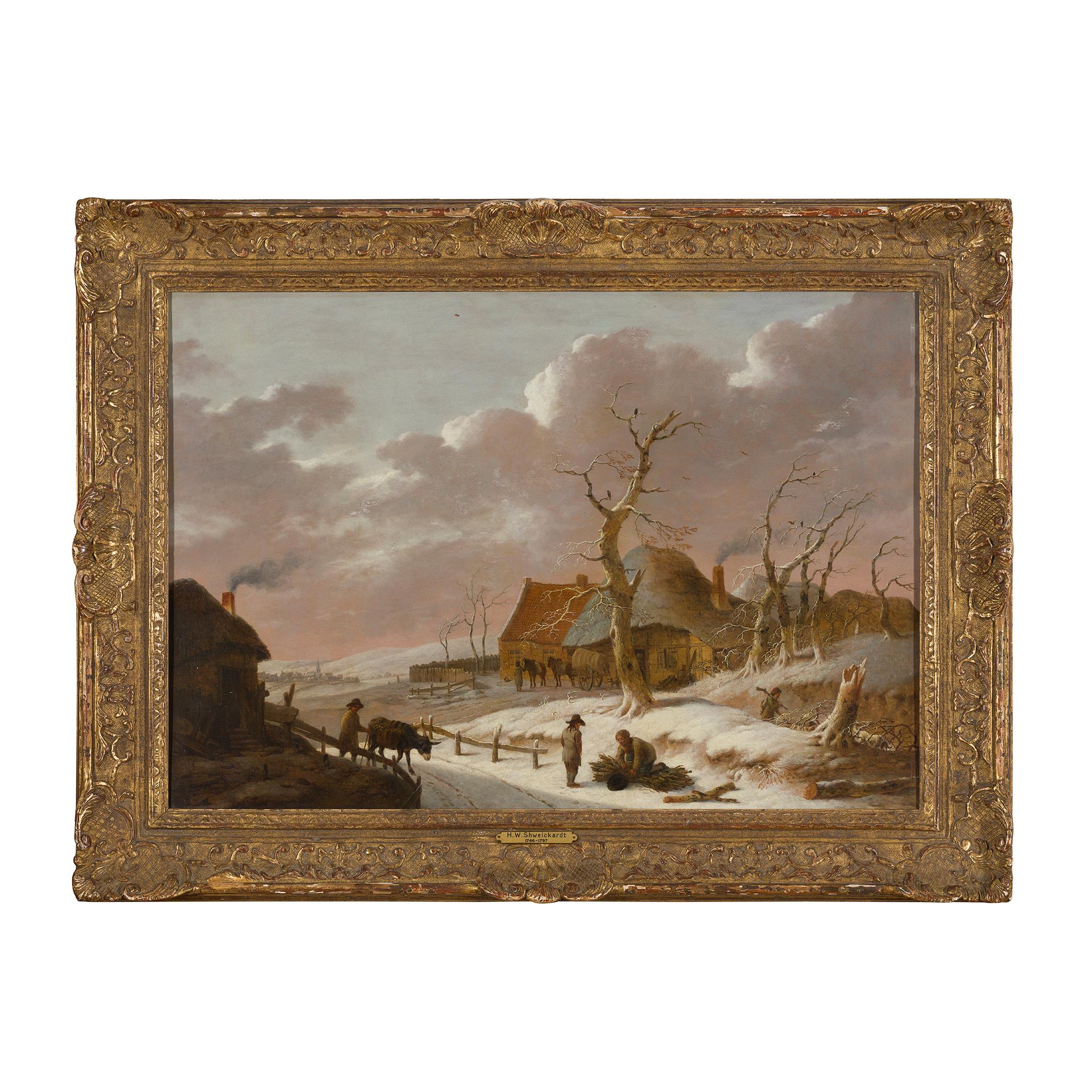 ATTRIBUTED TO HEINRICH WILHELM SCHWEICKARDT (GERMAN 1746-1797) A SNOW COVERED WINTER LANDSCAPE - Image 2 of 3